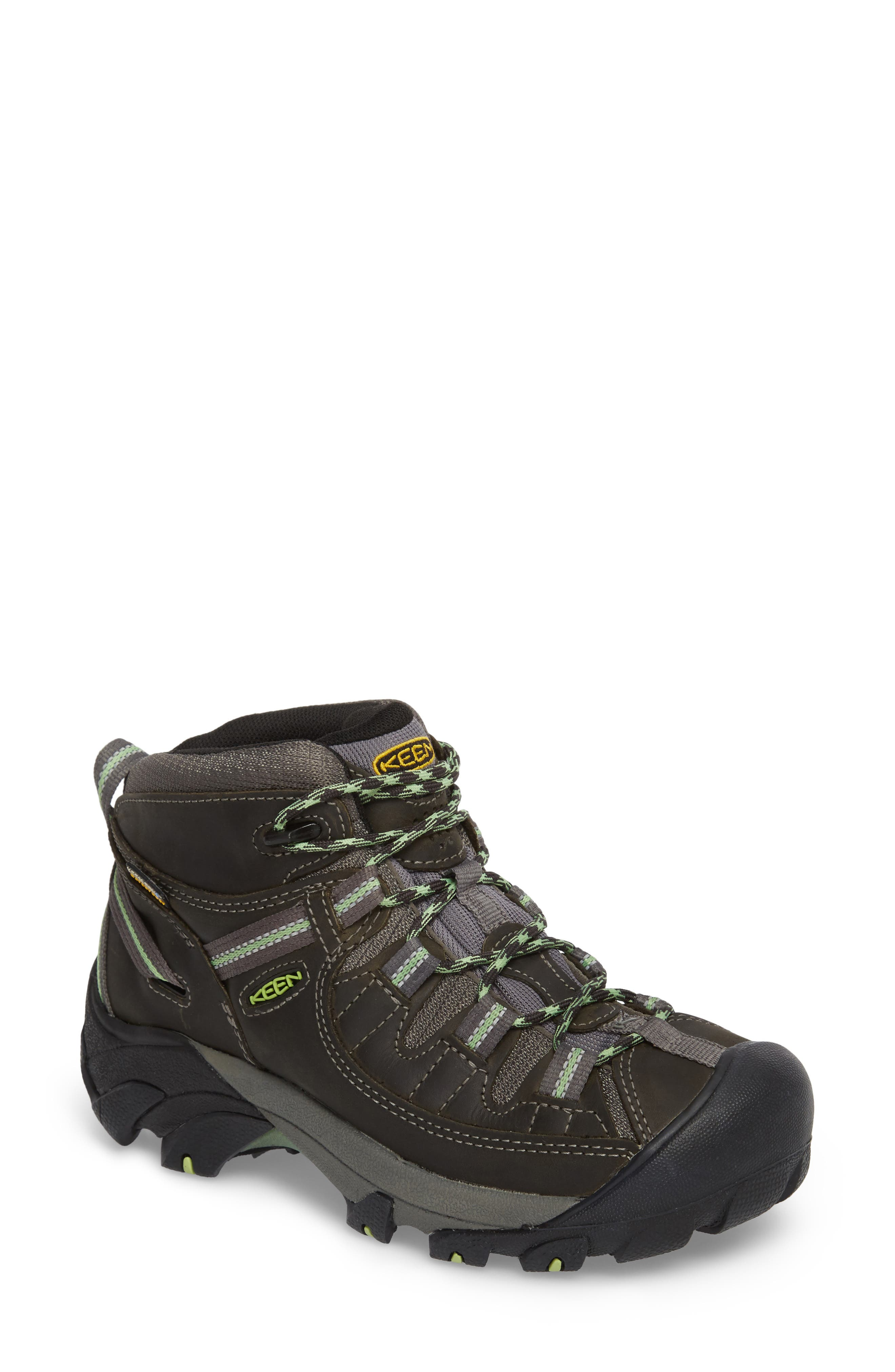 KEEN Targhee II Mid Waterproof Hiking Boot, Main, color, RAVEN/ OPALINE