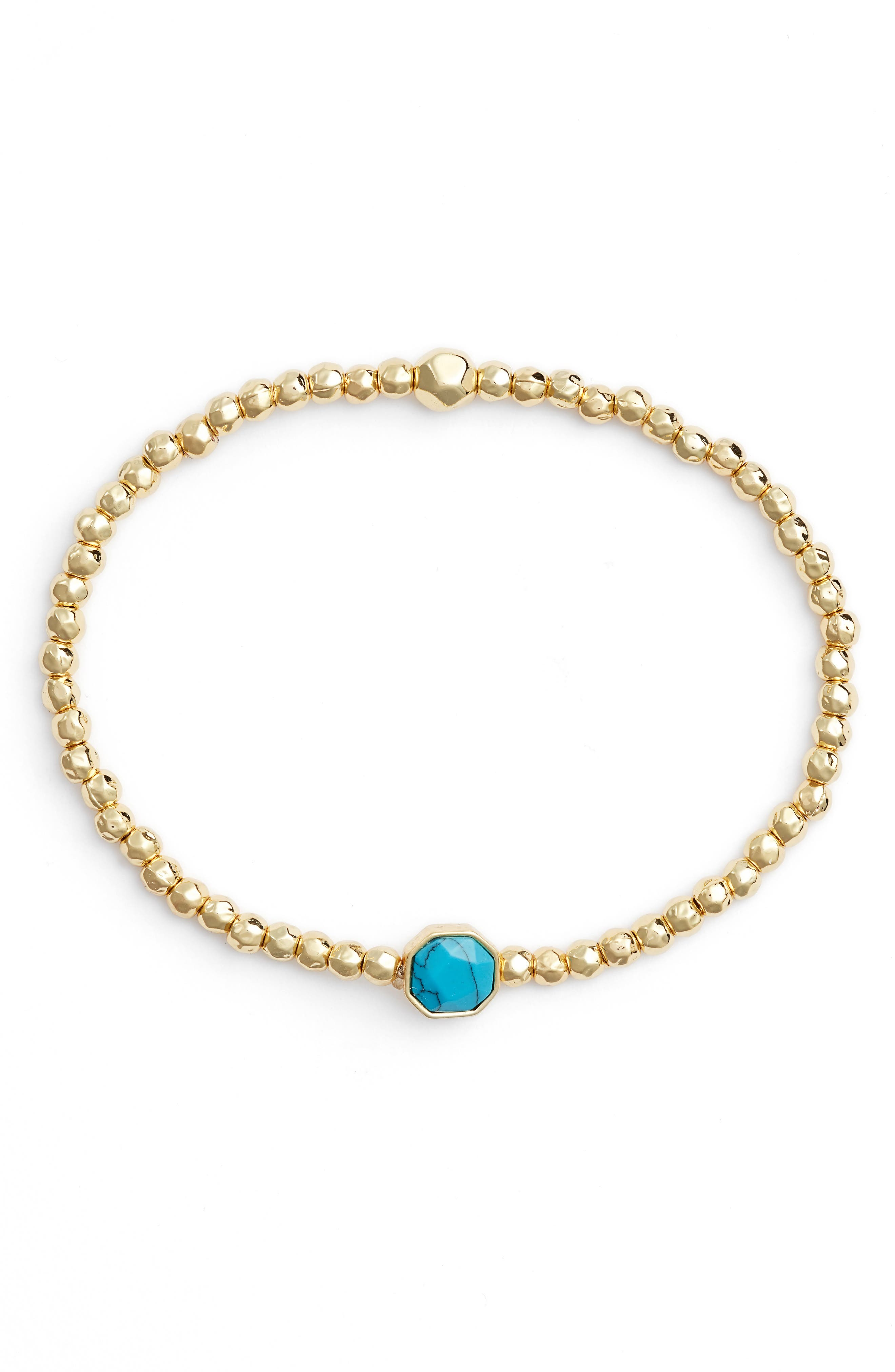 GORJANA Power Gemstone Beaded Bracelet, Main, color, TURQUOISE/ GOLD
