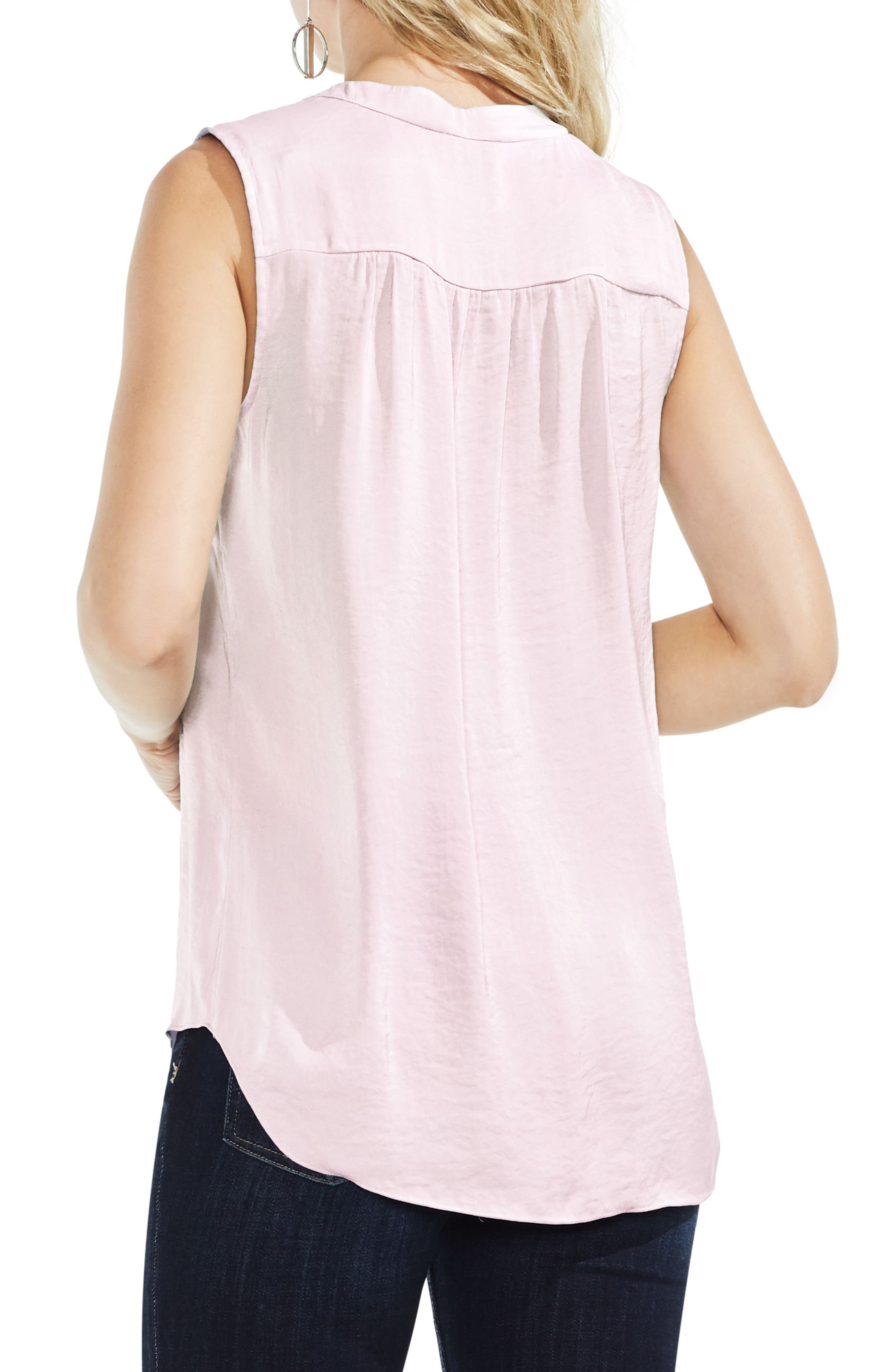 VINCE CAMUTO, Rumpled Satin Blouse, Alternate thumbnail 2, color, PINK BLISS