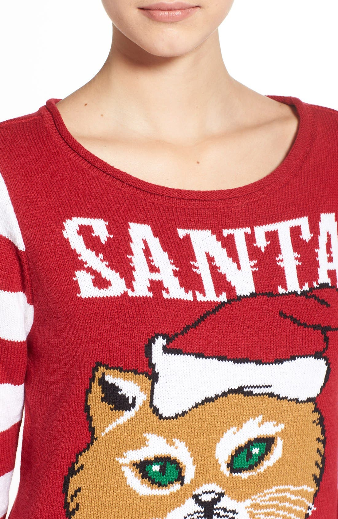 UGLY CHRISTMAS SWEATER, 'Santa Paws' Sweater, Alternate thumbnail 5, color, 610