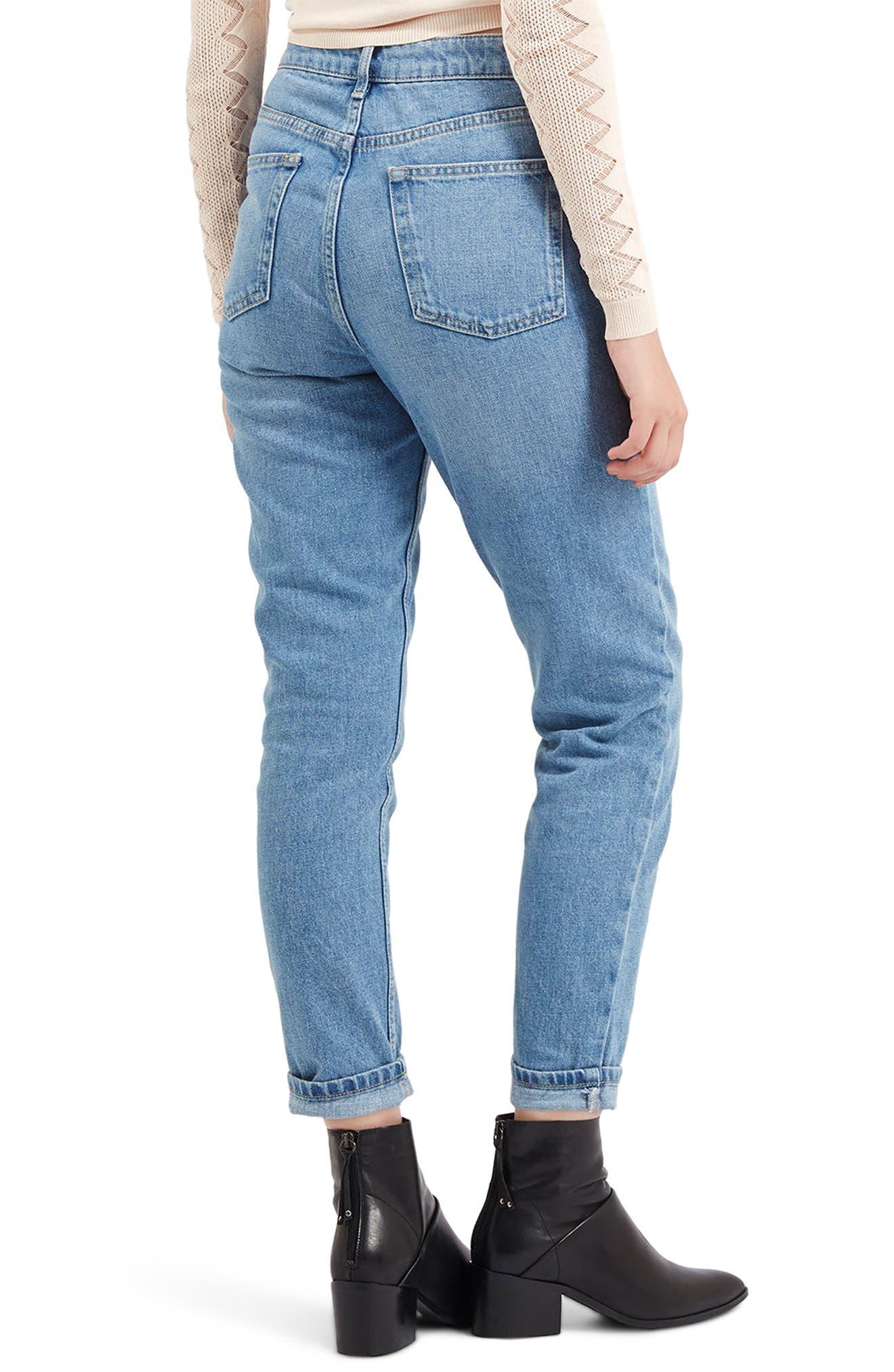 TOPSHOP, Light Denim Mom Jeans, Alternate thumbnail 2, color, LIGHT DENIM