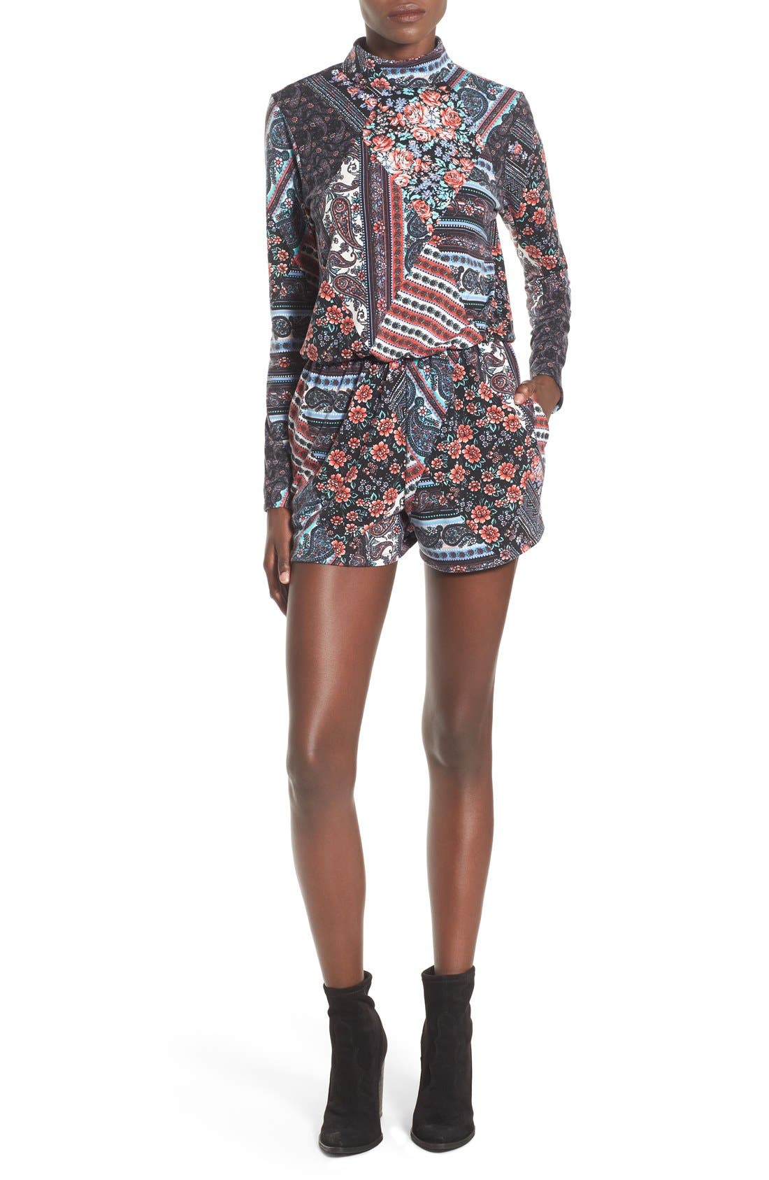 MIMI CHICA Long Sleeve Mixed Print Romper, Main, color, 020