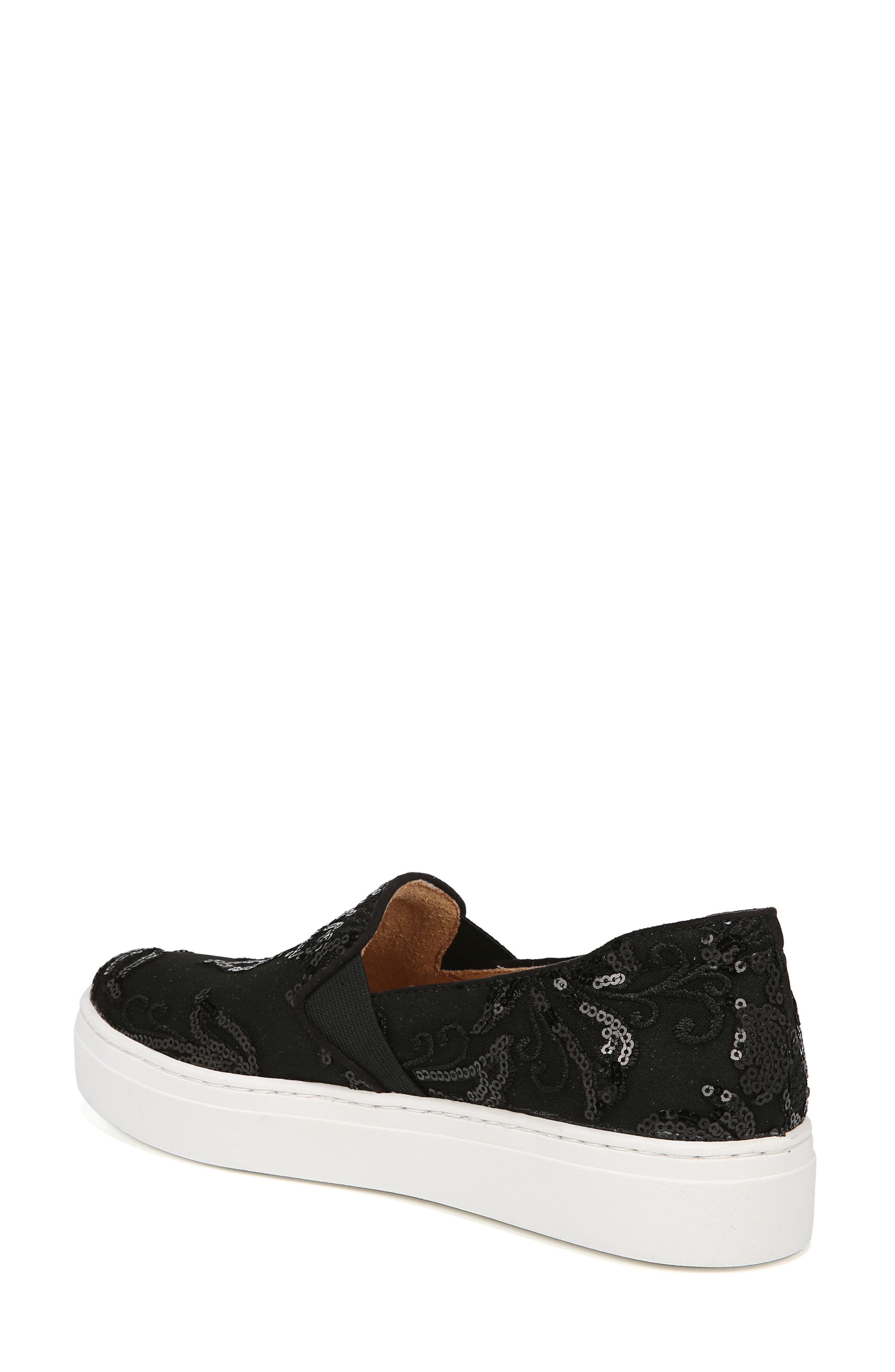 NATURALIZER, Carly Slip-On Sneaker, Alternate thumbnail 2, color, BLACK EMBROIDERED LACE