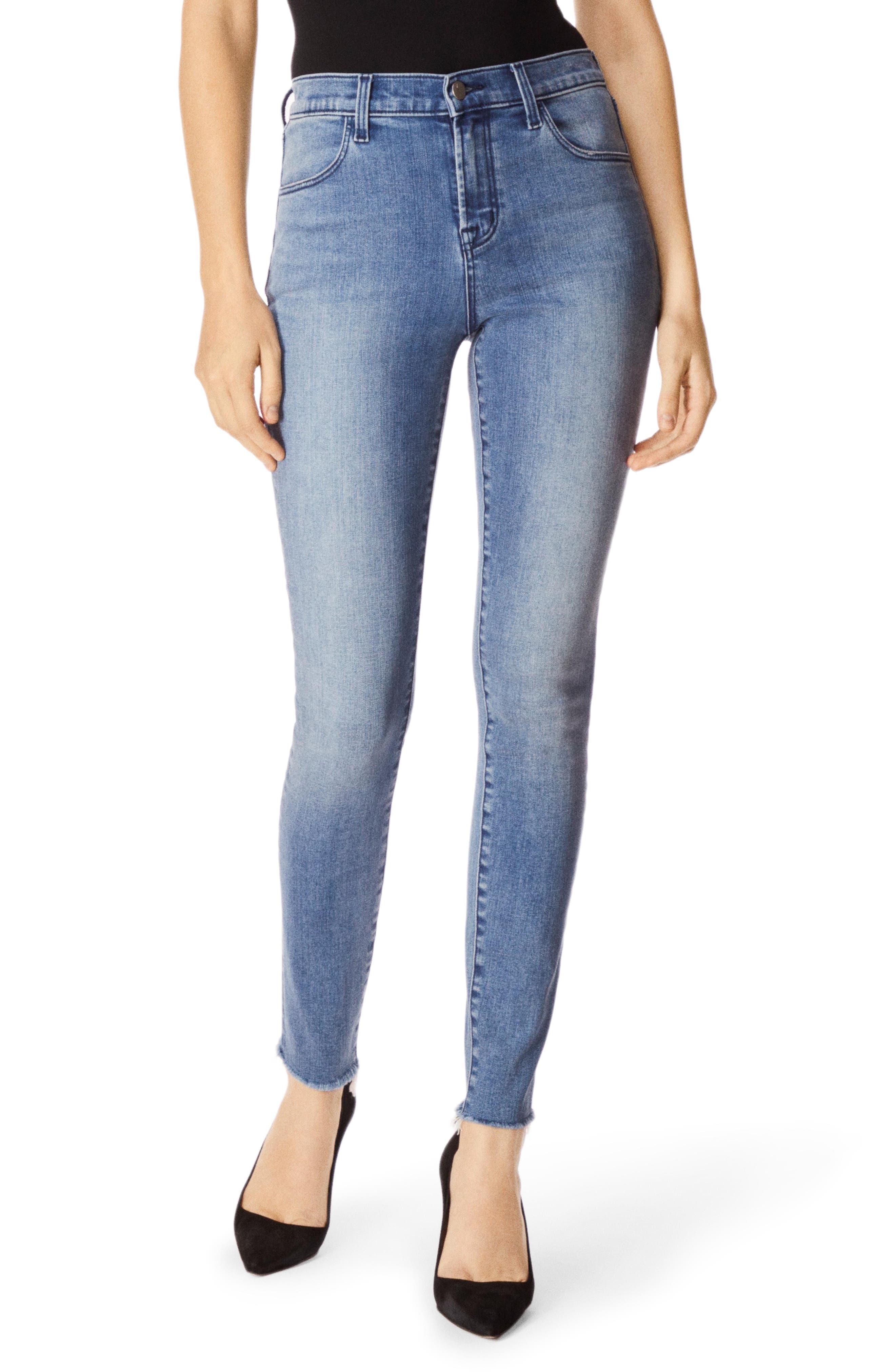 J BRAND, Maria High Waist Raw Hem Skinny Jeans, Main thumbnail 1, color, VEGA
