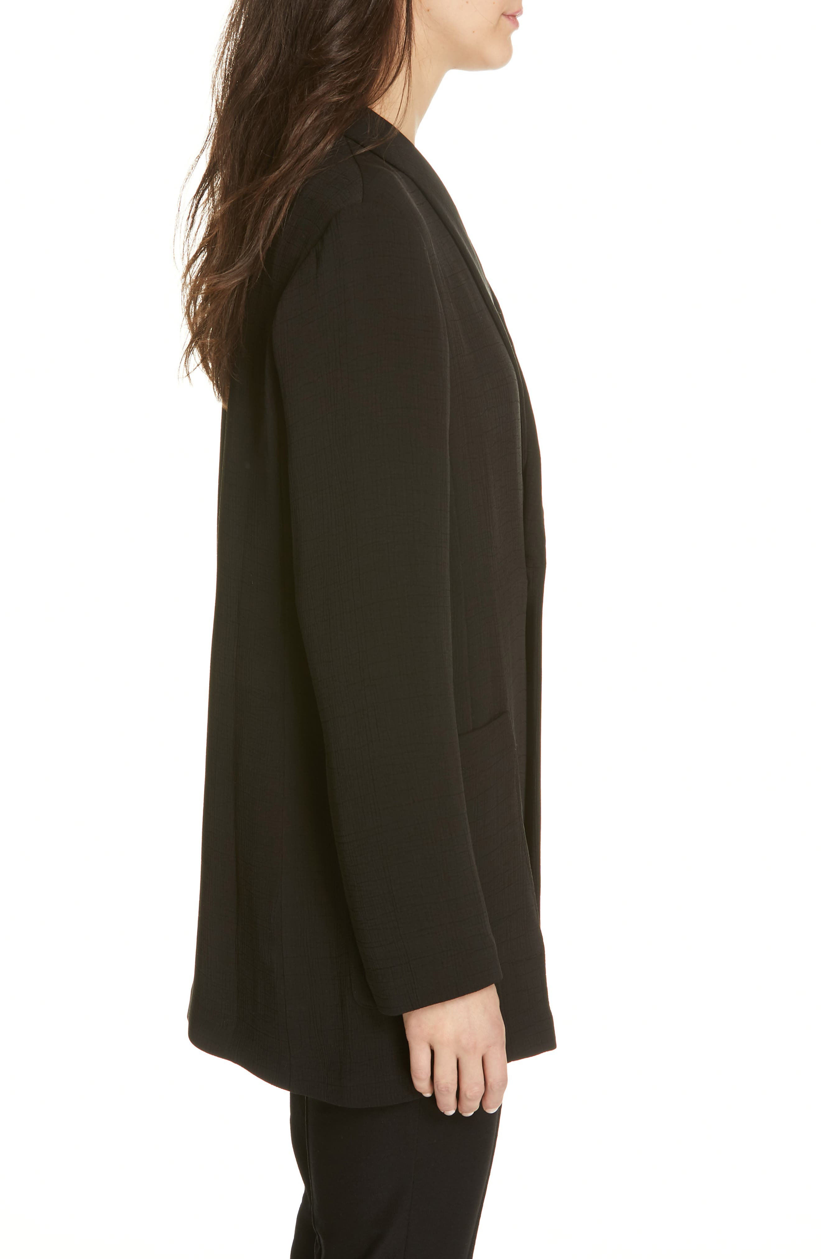 EILEEN FISHER, Double Breasted Blazer, Alternate thumbnail 3, color, BLACK