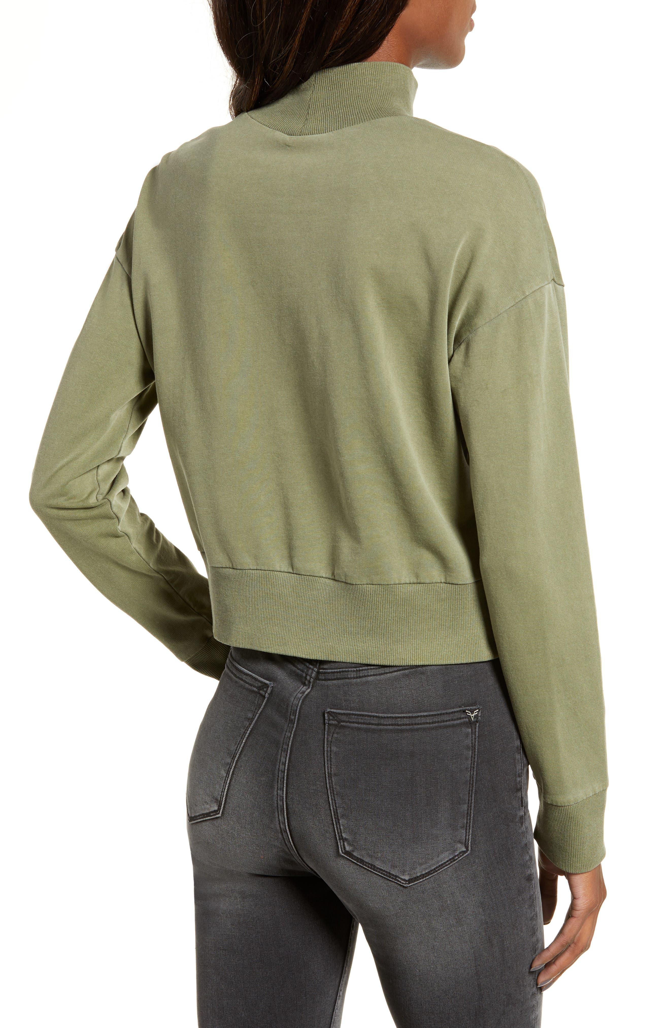 BP., Washed Mock Neck Sweatshirt, Alternate thumbnail 3, color, OLIVE BURNT
