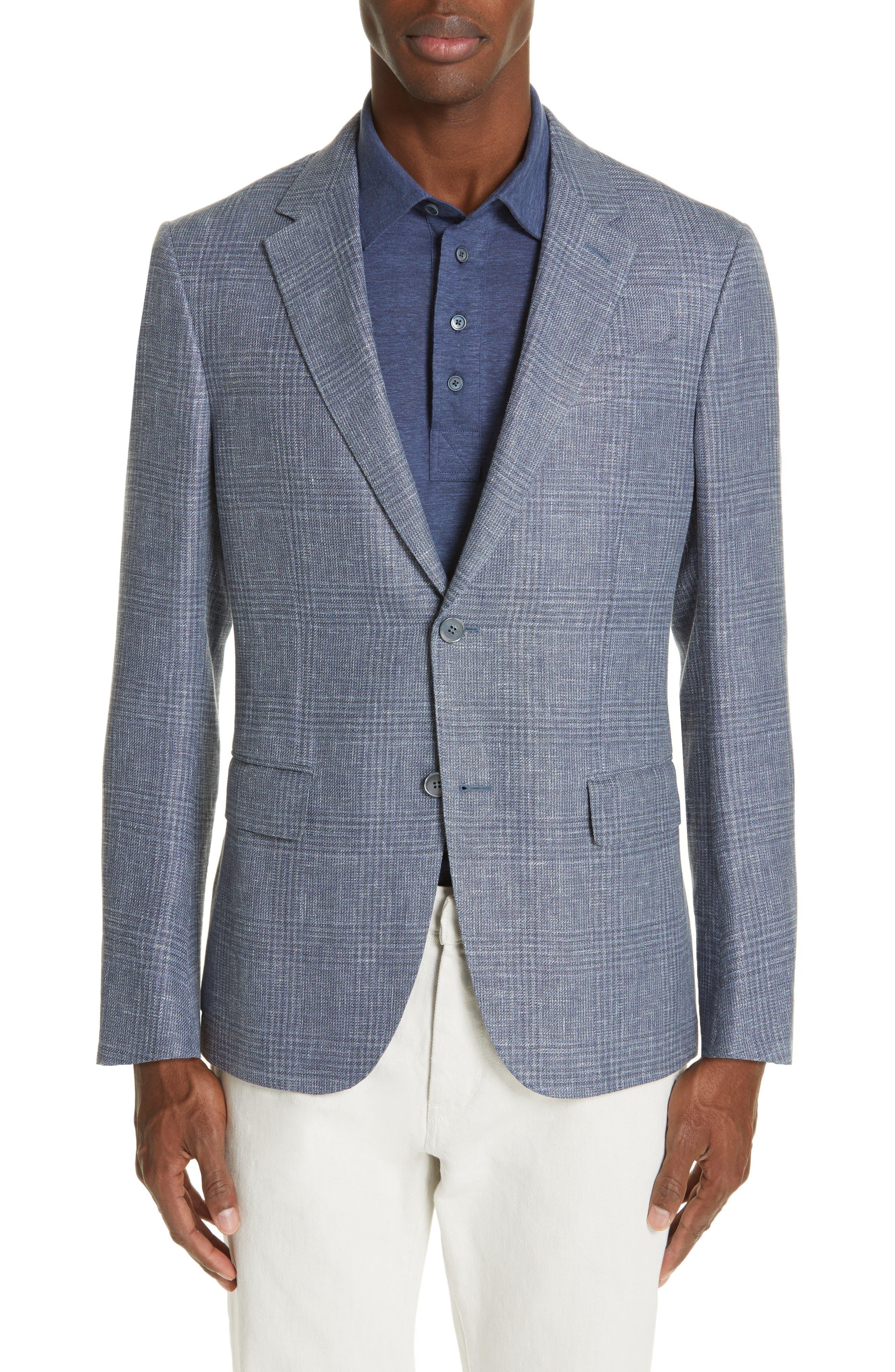 ERMENEGILDO ZEGNA, Milano Classic Fit Plaid Sport Coat, Main thumbnail 1, color, BLUE