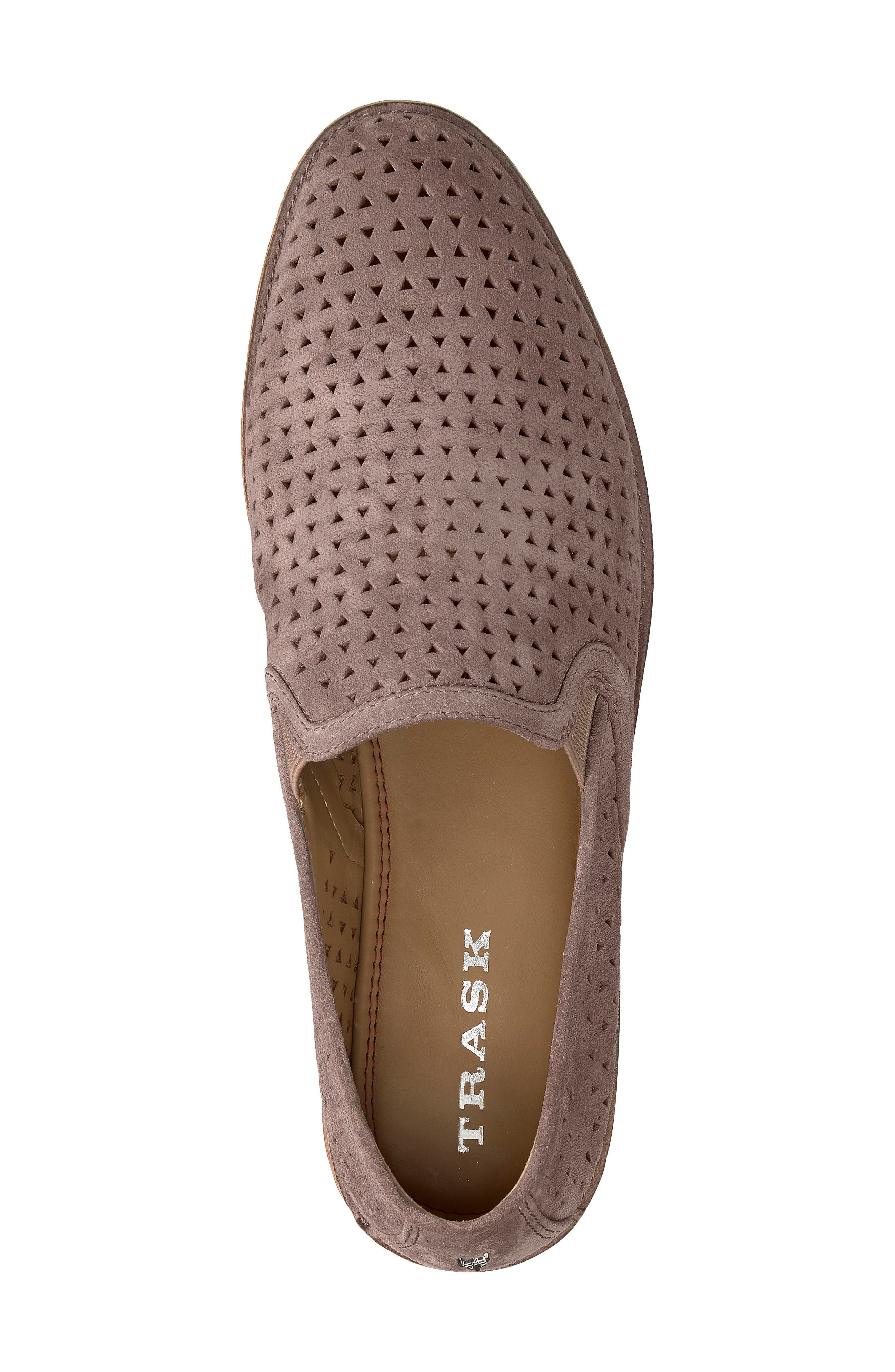TRASK, Ali Perforated Loafer, Alternate thumbnail 5, color, BLUSH SUEDE