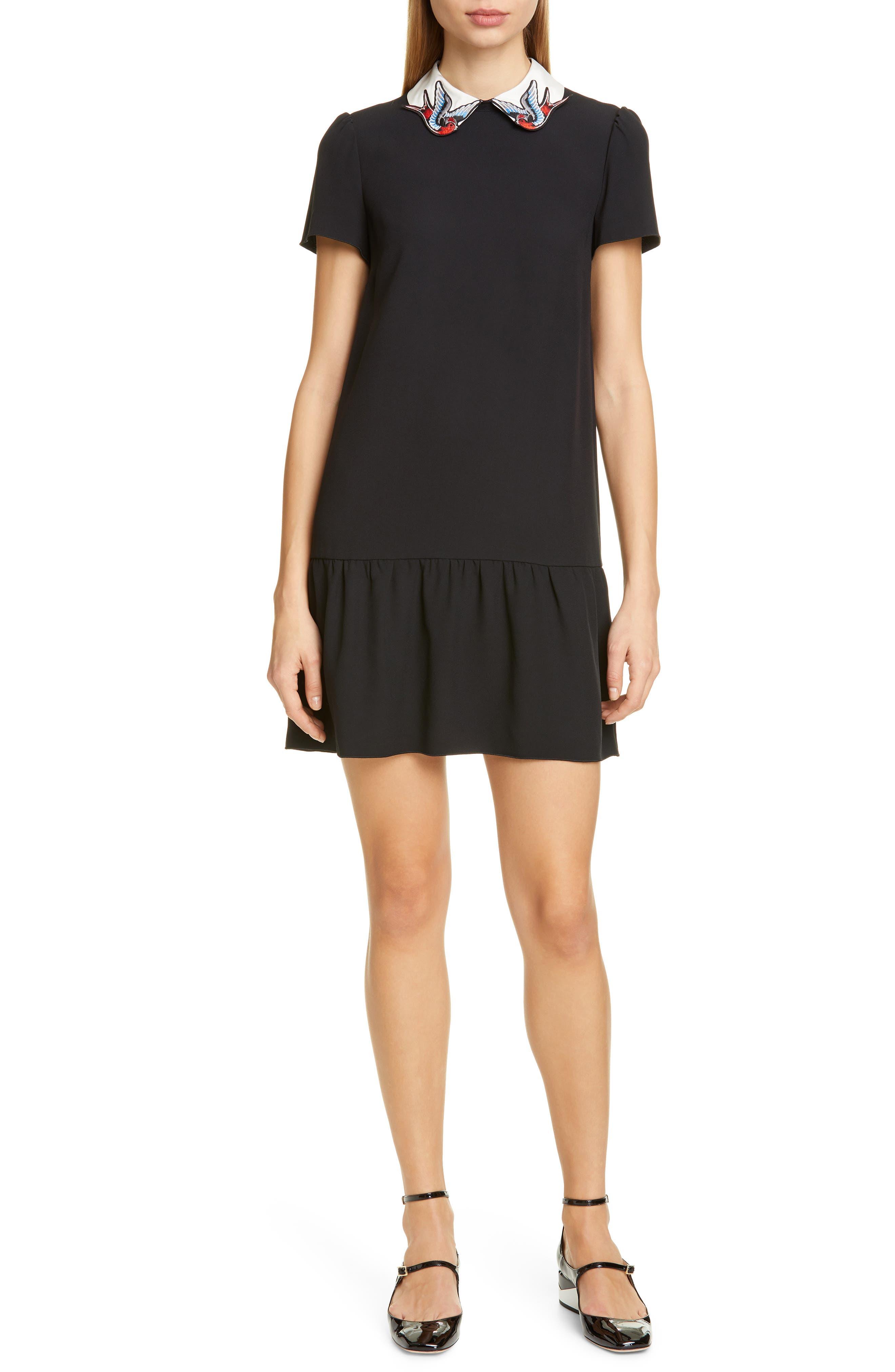 Red Valentino Swallow Collar Ruffle Hem Dress, 8 IT - Black
