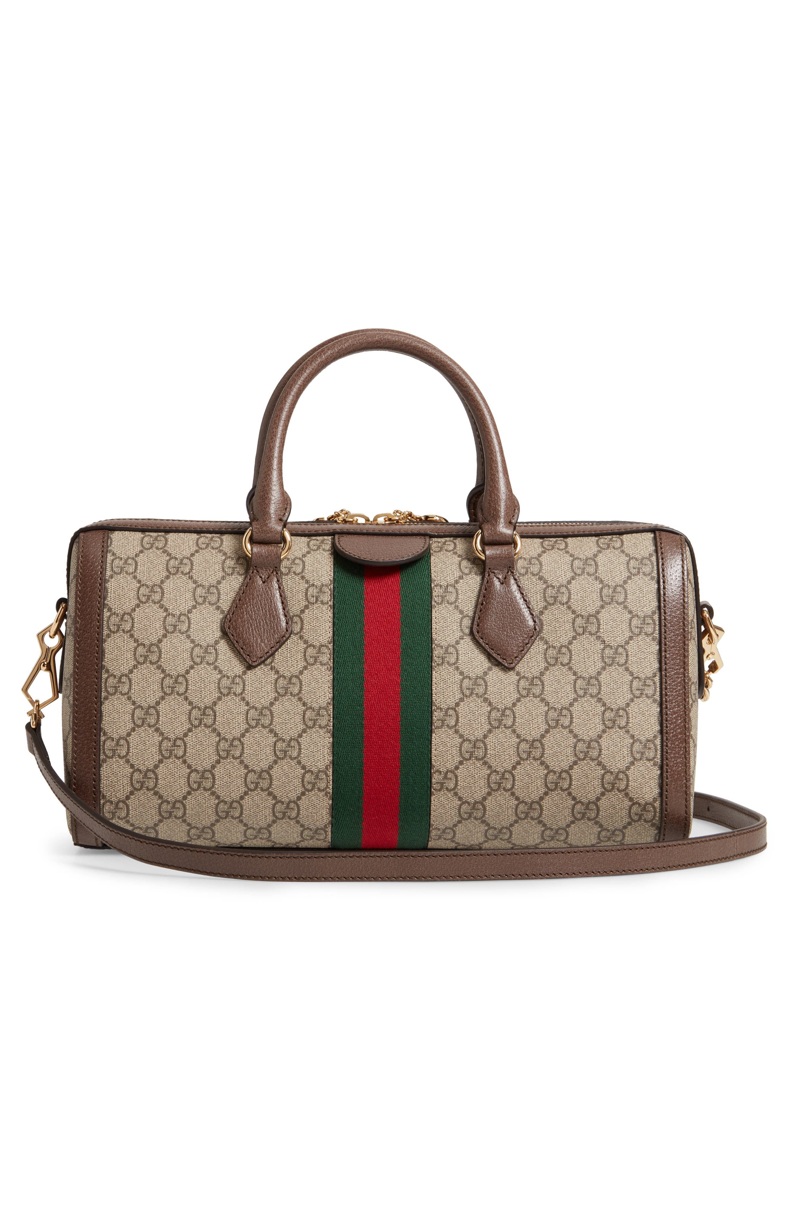 GUCCI, Ophidia GG Supreme Canvas Top Handle Bag, Alternate thumbnail 3, color, BEIGE EBONY/ ACERO/ VERT RED