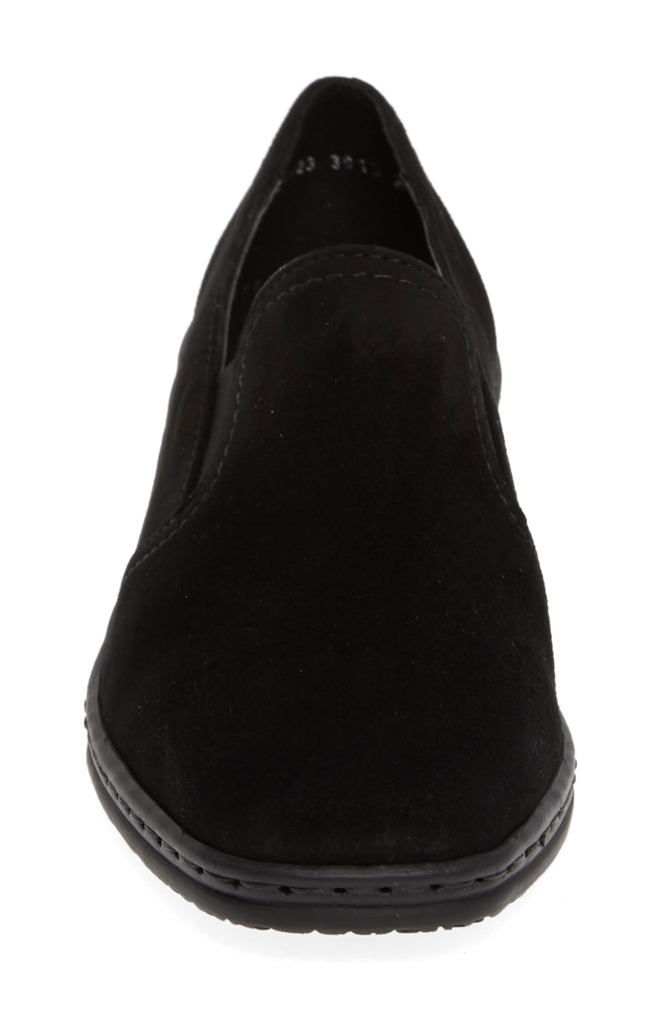 ARA, Rabina Wedge Loafer, Alternate thumbnail 4, color, BLACK SUEDE