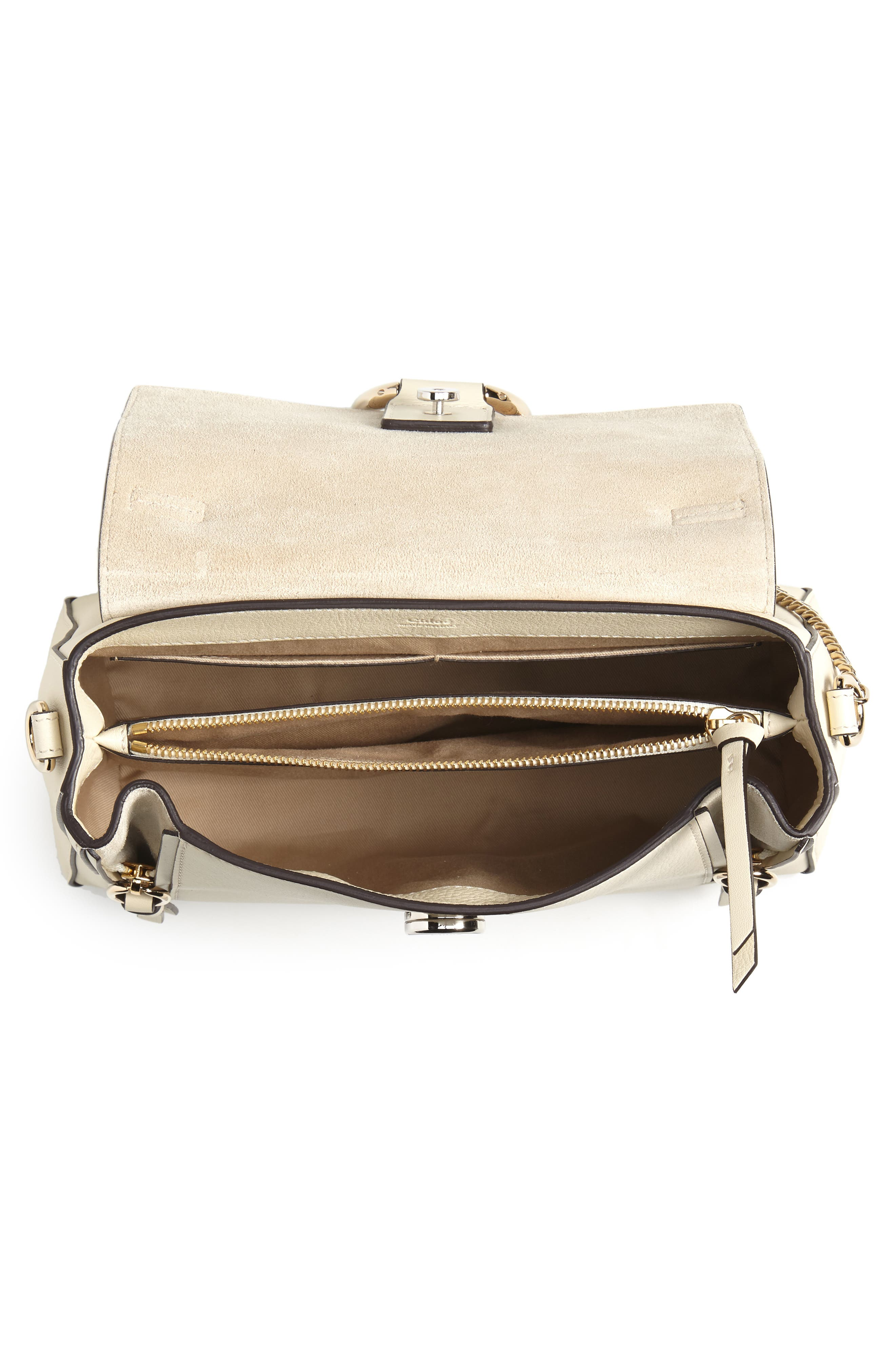 CHLOÉ, Small Faye Day Leather Shoulder Bag, Alternate thumbnail 4, color, OFF WHITE