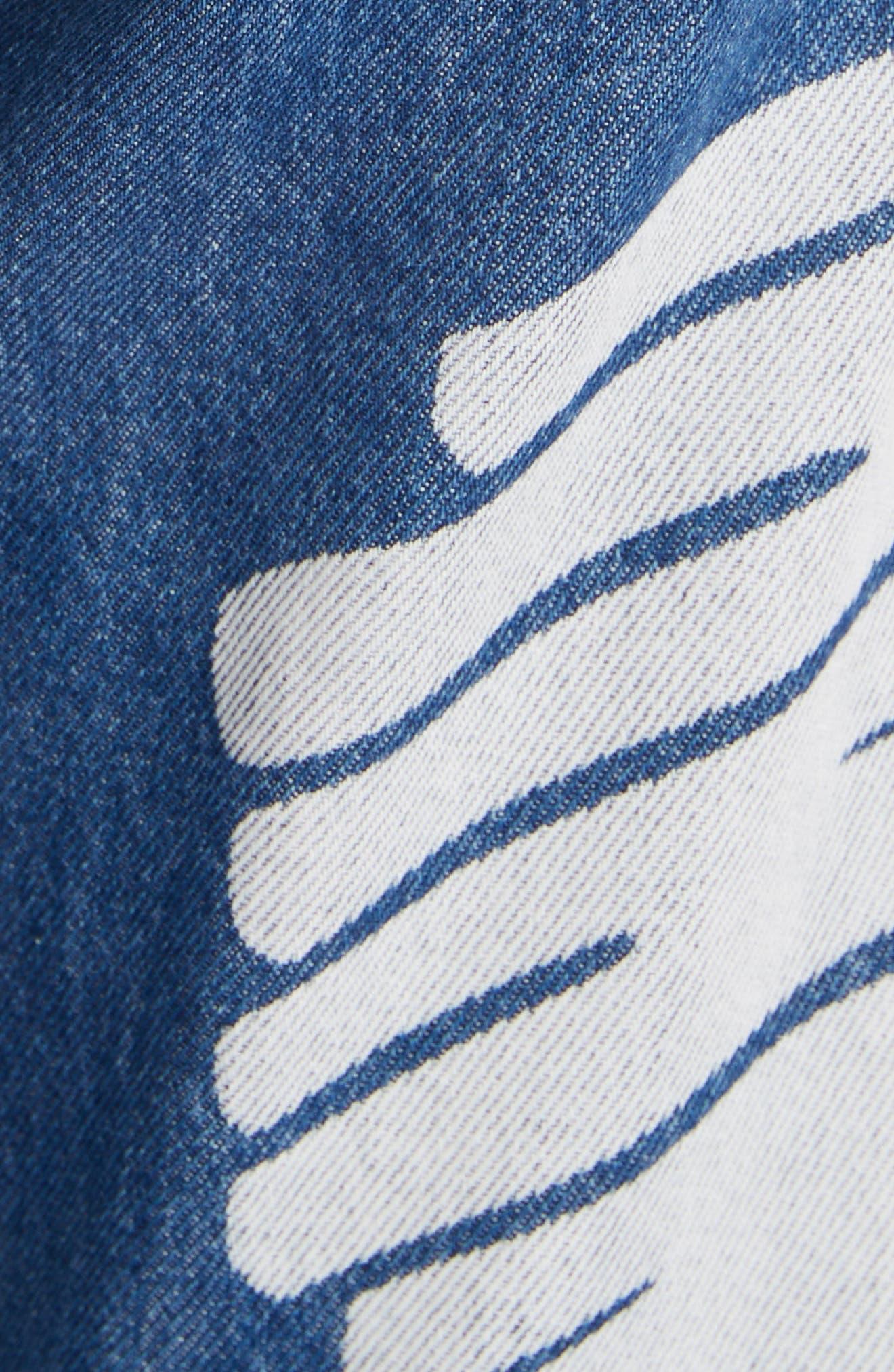 MOSCHINO, Scribble Straight Leg Jeans, Alternate thumbnail 5, color, DENIM