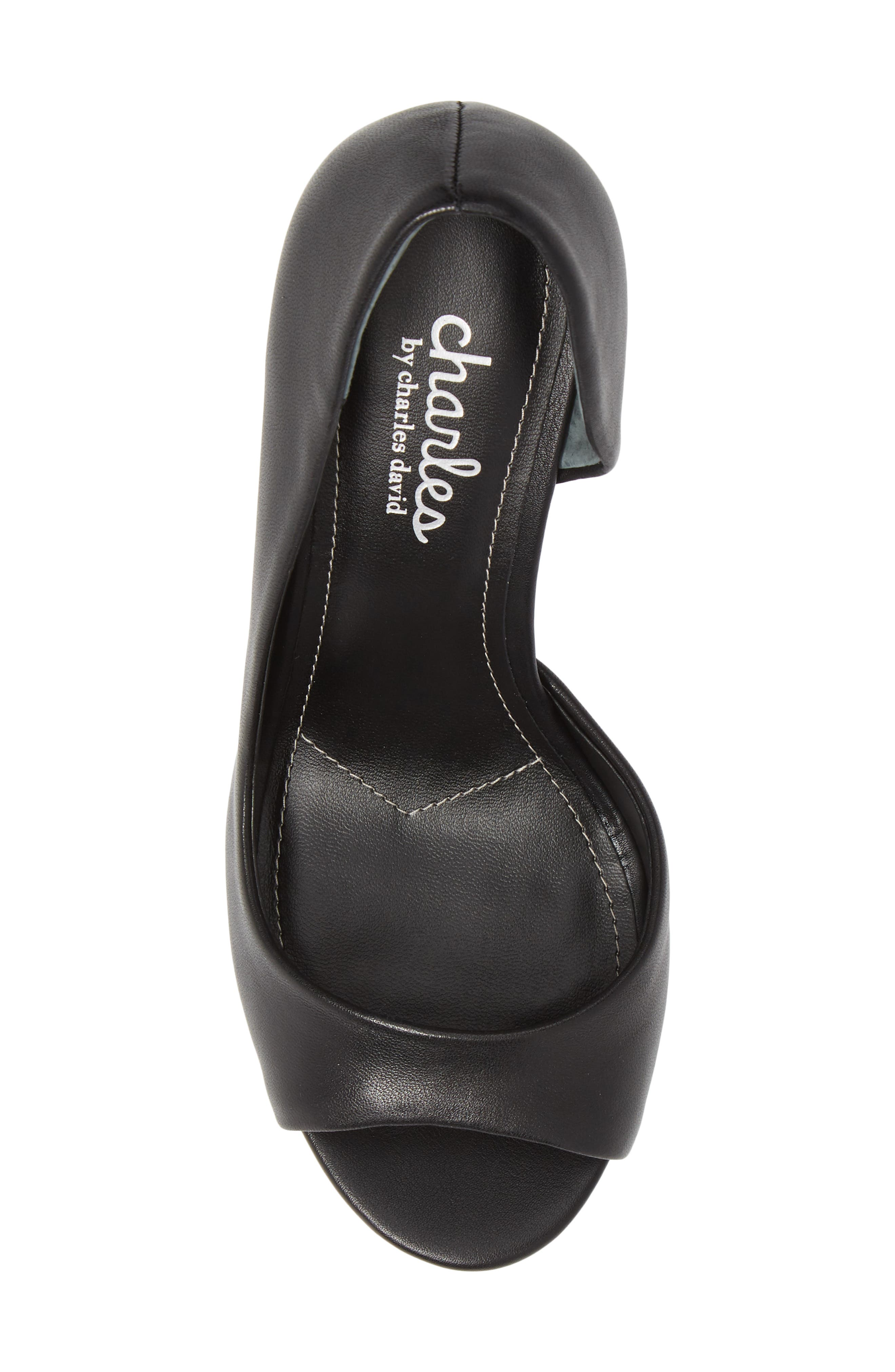 CHARLES BY CHARLES DAVID, Chess Open Toe Pump, Alternate thumbnail 5, color, BLACK LEATHER