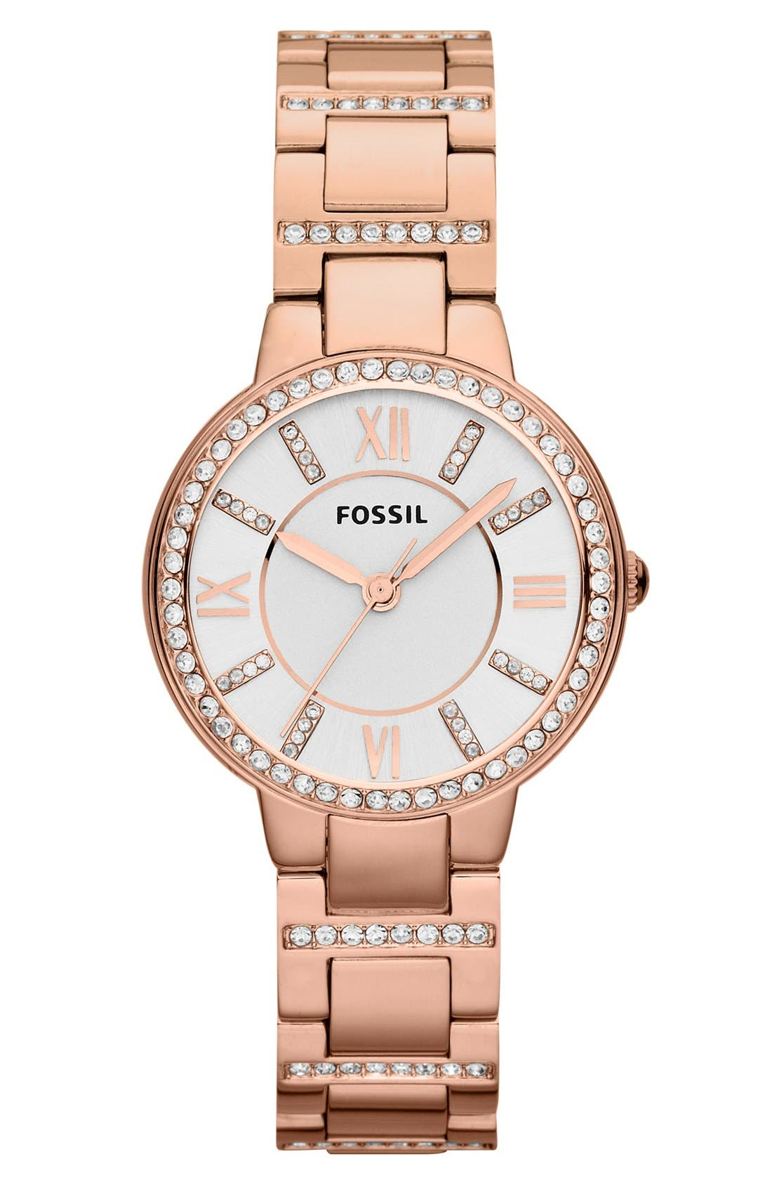 FOSSIL, 'Virginia' Crystal Accent Bracelet Watch, 30mm, Main thumbnail 1, color, ROSE GOLD/ WHITE/ ROSE GOLD