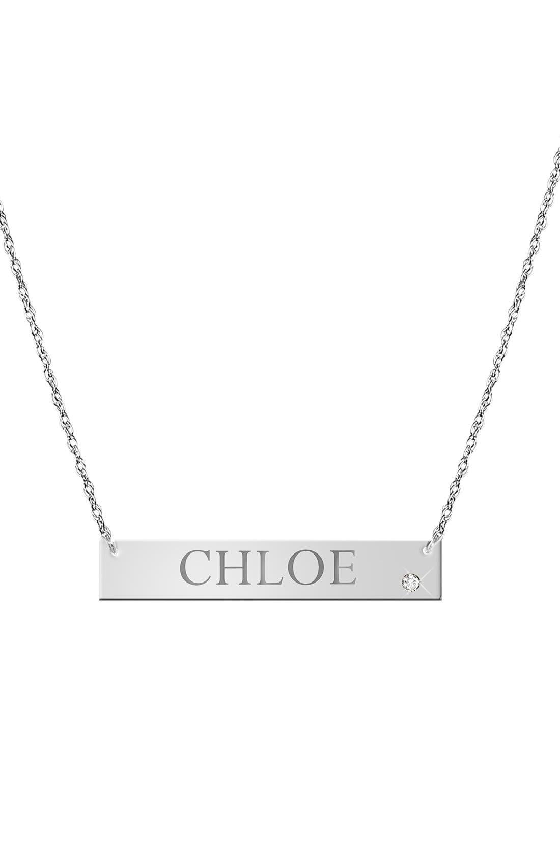 JANE BASCH DESIGNS, Diamond & Personalized Nameplate Pendant Necklace, Alternate thumbnail 3, color, 040