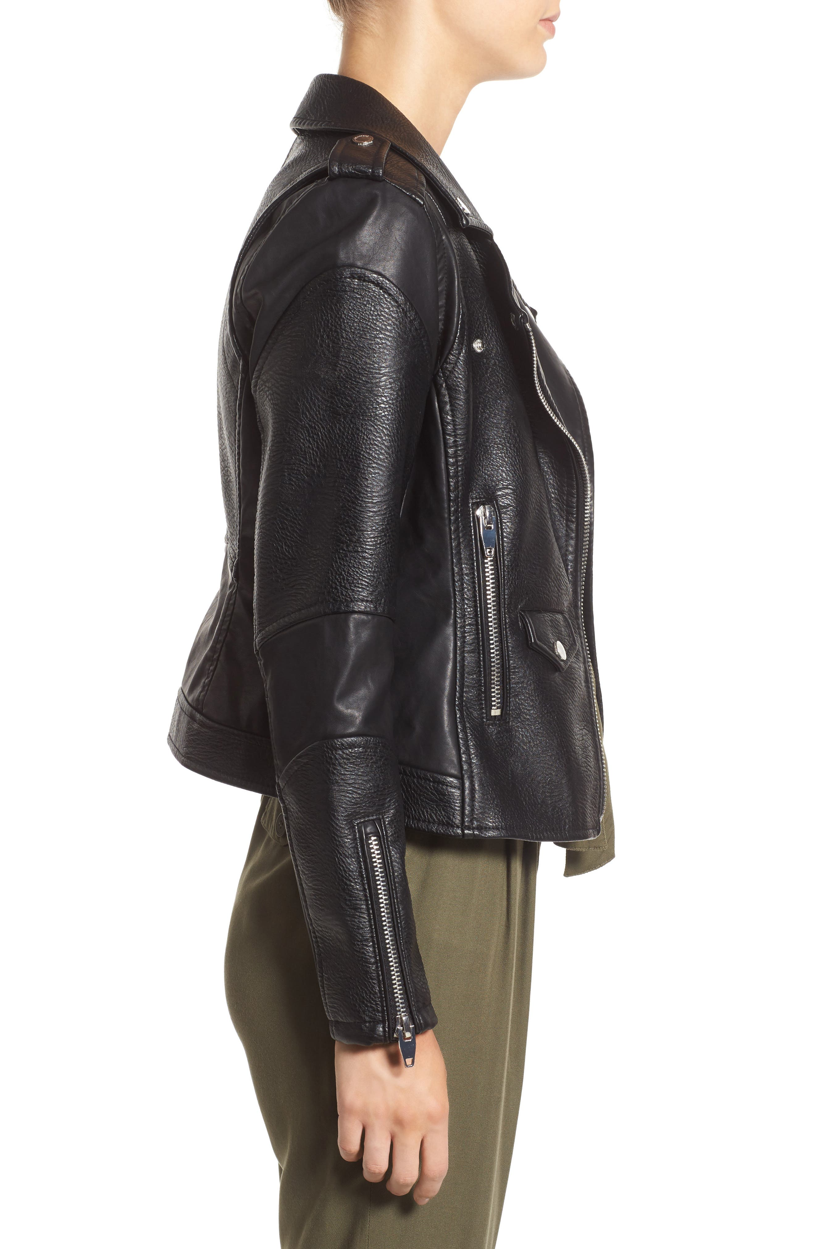 BLANKNYC, 'Easy Rider' Faux Leather Moto Jacket, Alternate thumbnail 3, color, 001