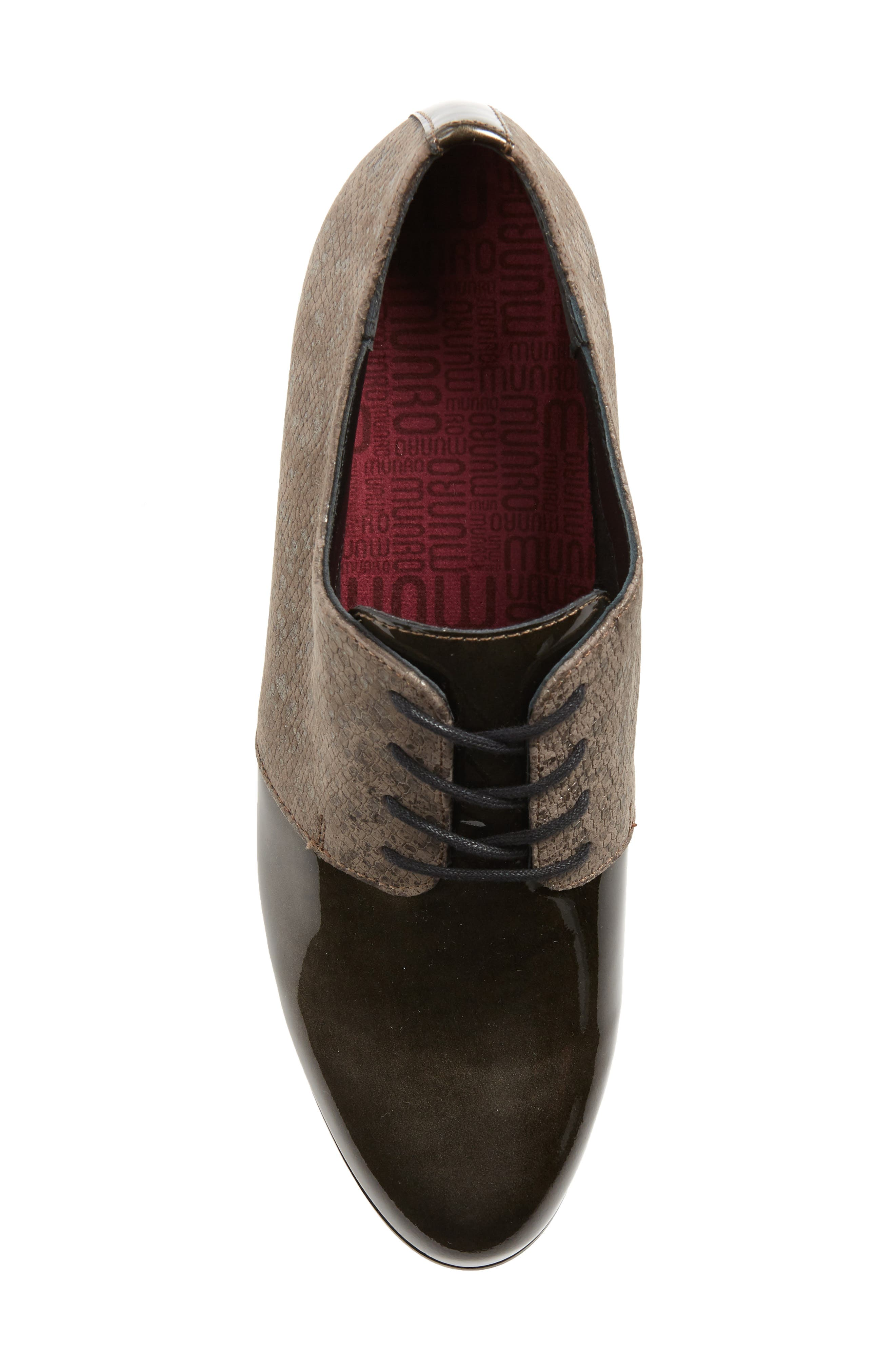 MUNRO, Markella Derby, Alternate thumbnail 5, color, GREY PATENT LEATHER