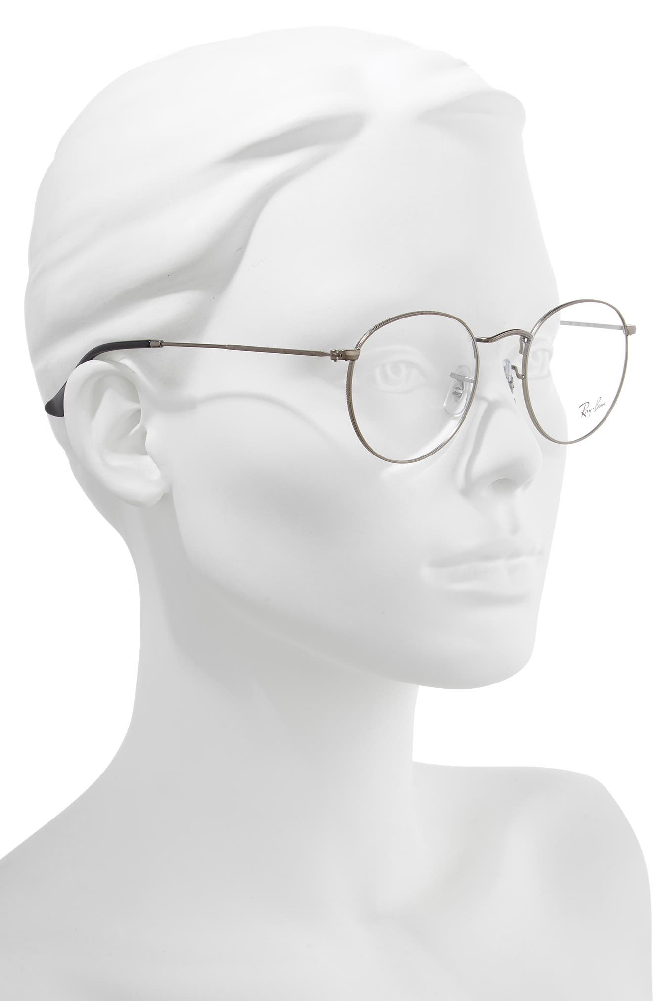 RAY-BAN, 50mm Round Optical Glasses, Alternate thumbnail 2, color, MATTE GUNMETAL