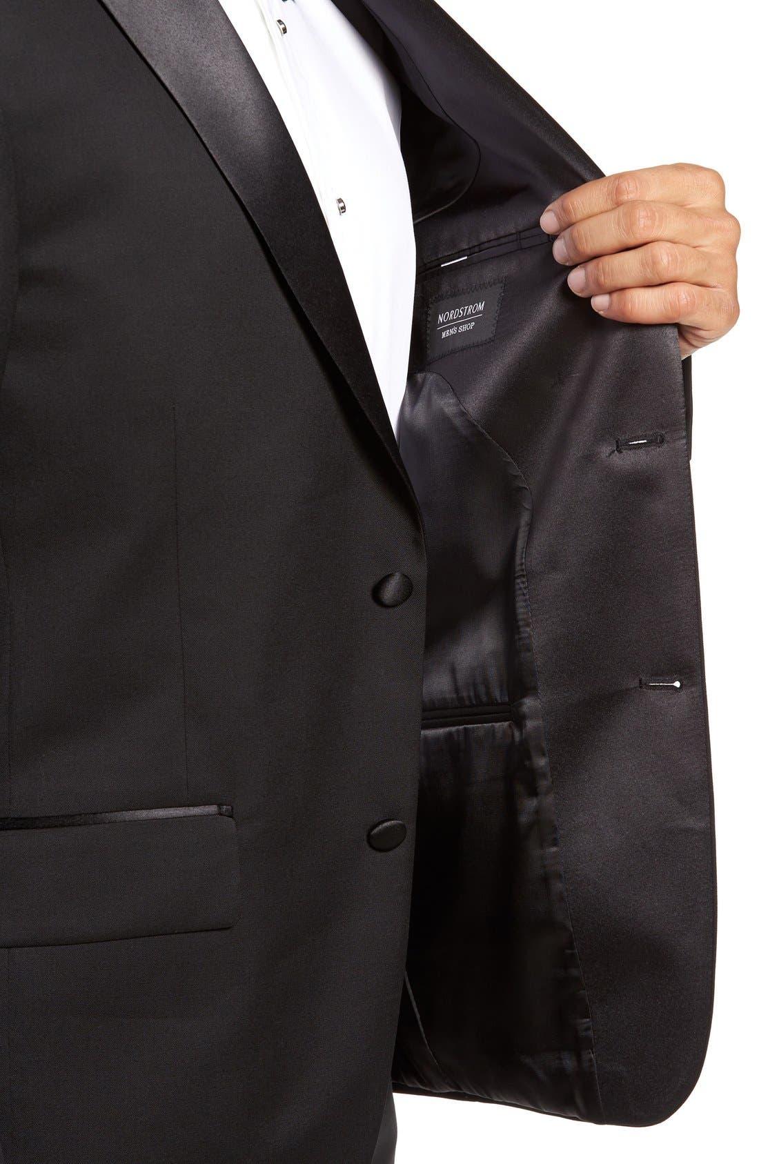 NORDSTROM MEN'S SHOP, Trim Fit Wool Tuxedo, Alternate thumbnail 7, color, BLACK