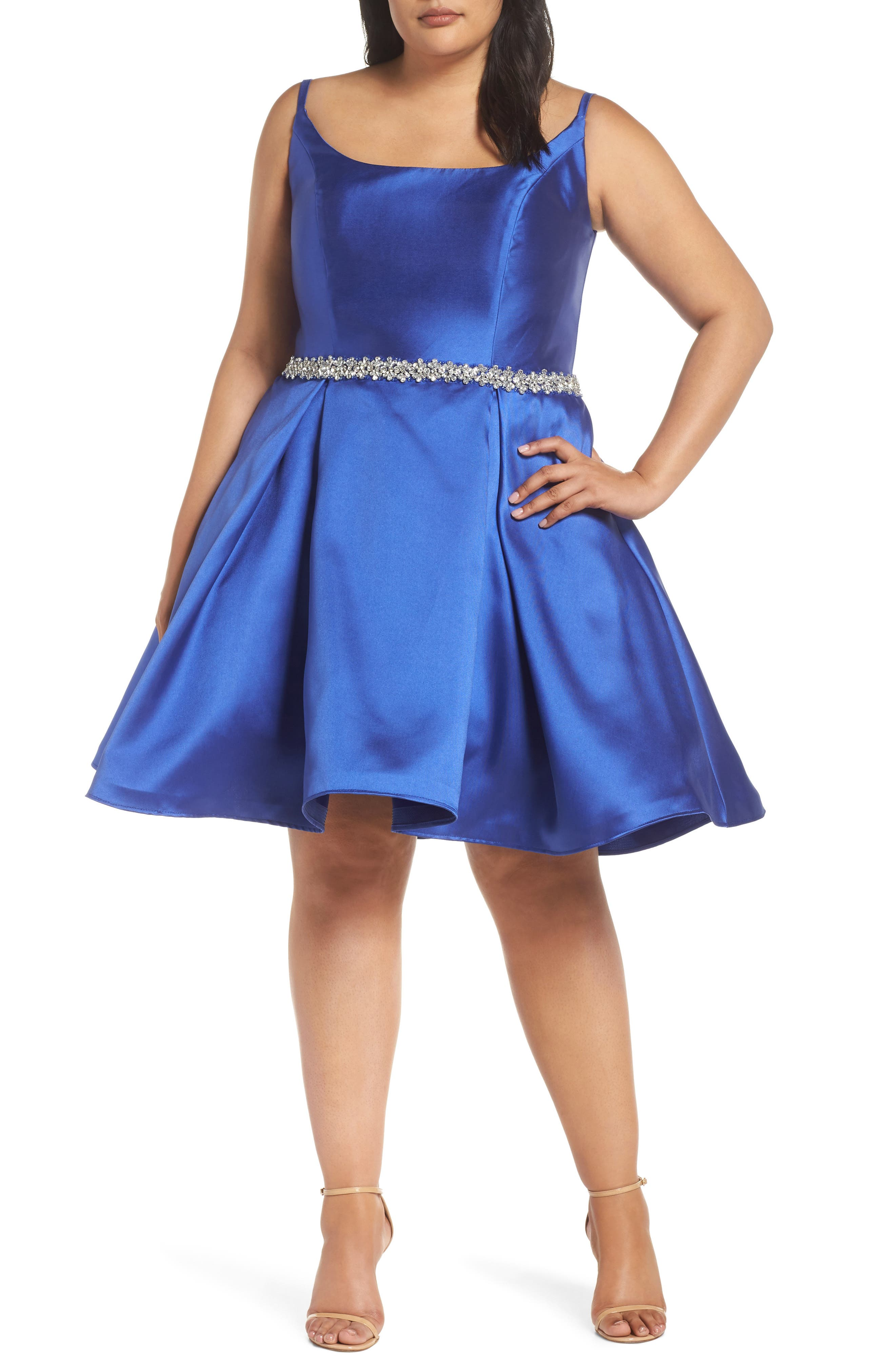 Plus Size MAC Duggal Beaded Belt Fit And Flare Dress, Blue