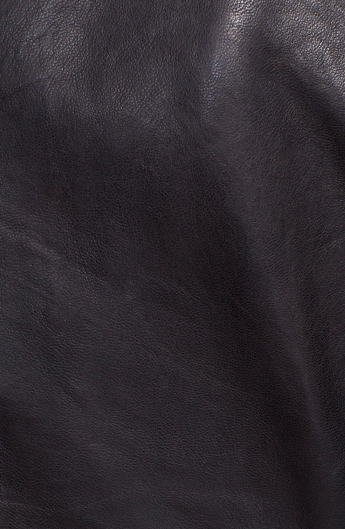 TED BAKER LONDON, 'Roark' Stand Collar Leather Jacket, Alternate thumbnail 2, color, 001