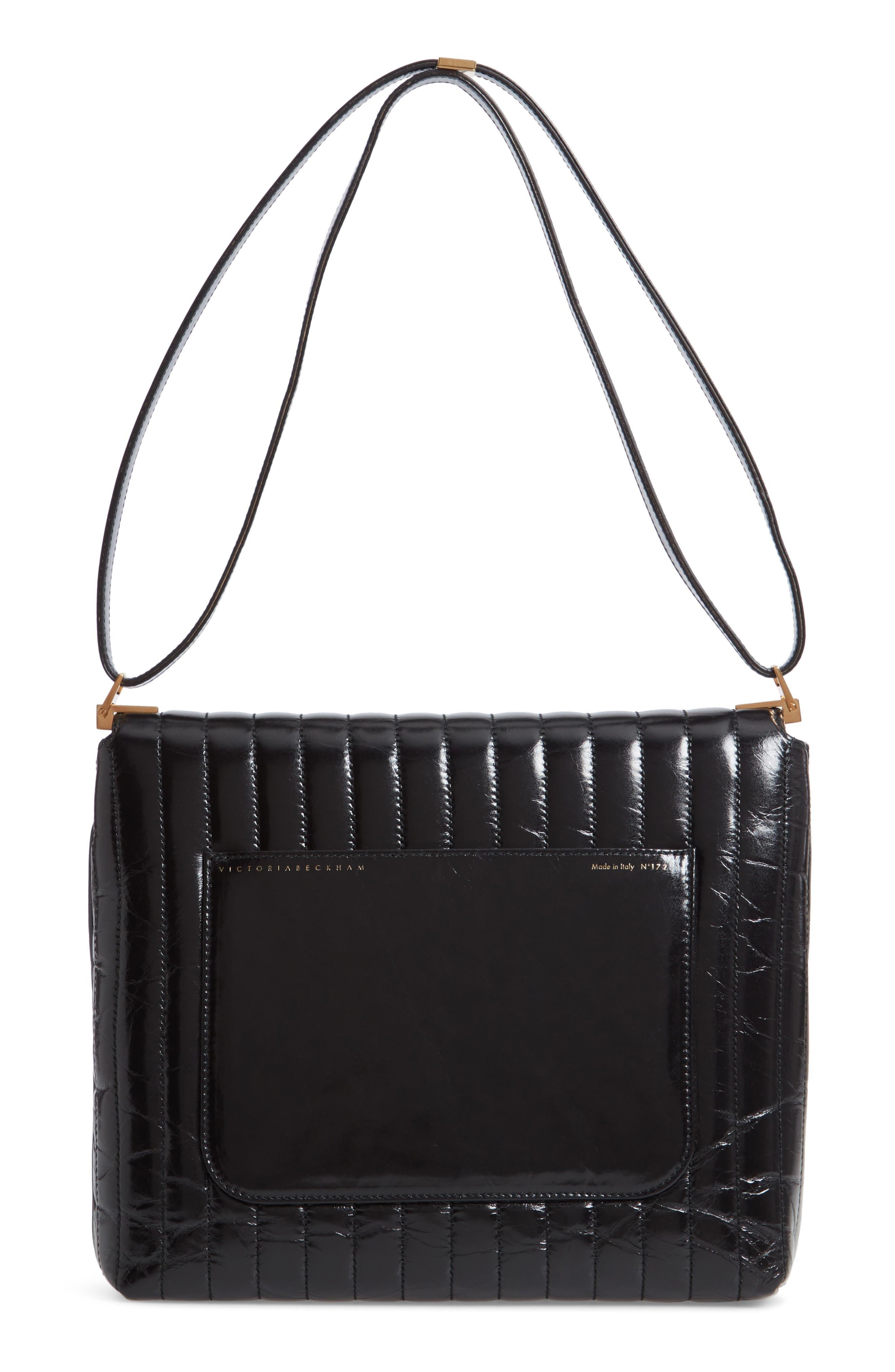VICTORIA BECKHAM, Quinton Quilted Leather Shoulder Bag, Alternate thumbnail 3, color, 001