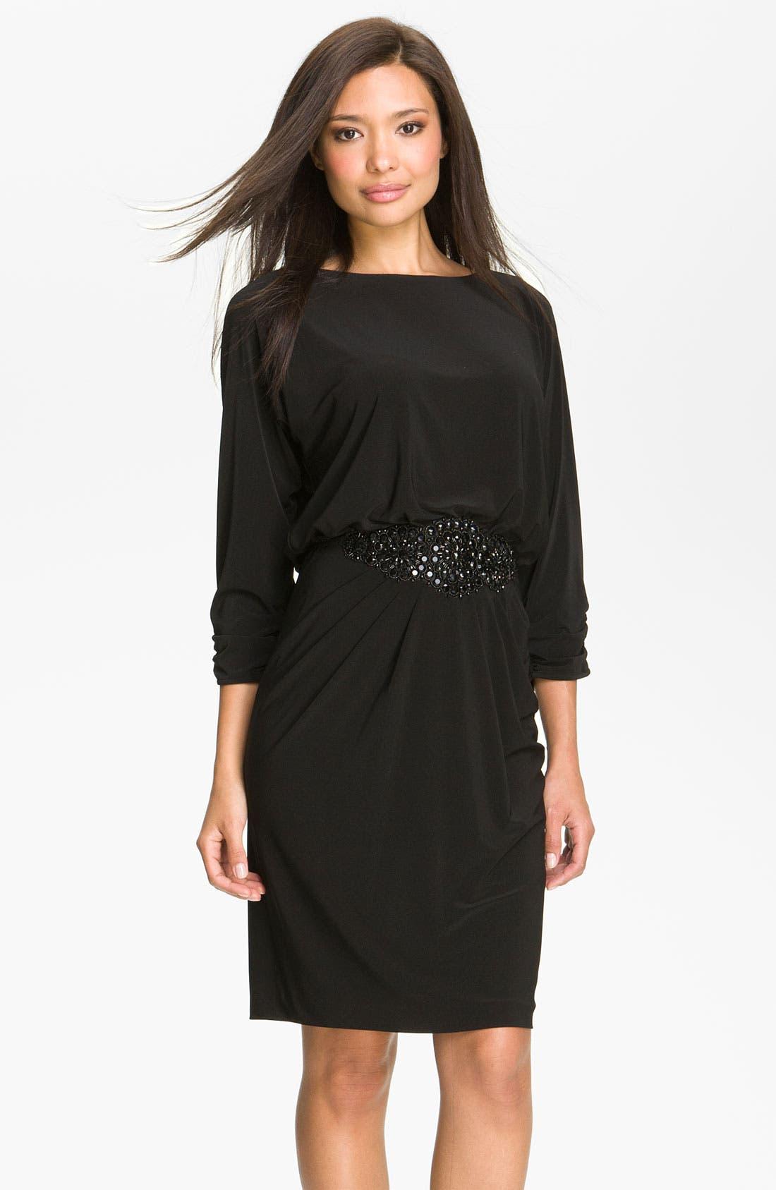 ALEX EVENINGS Beaded Waist Jersey Blouson Dress, Main, color, 001