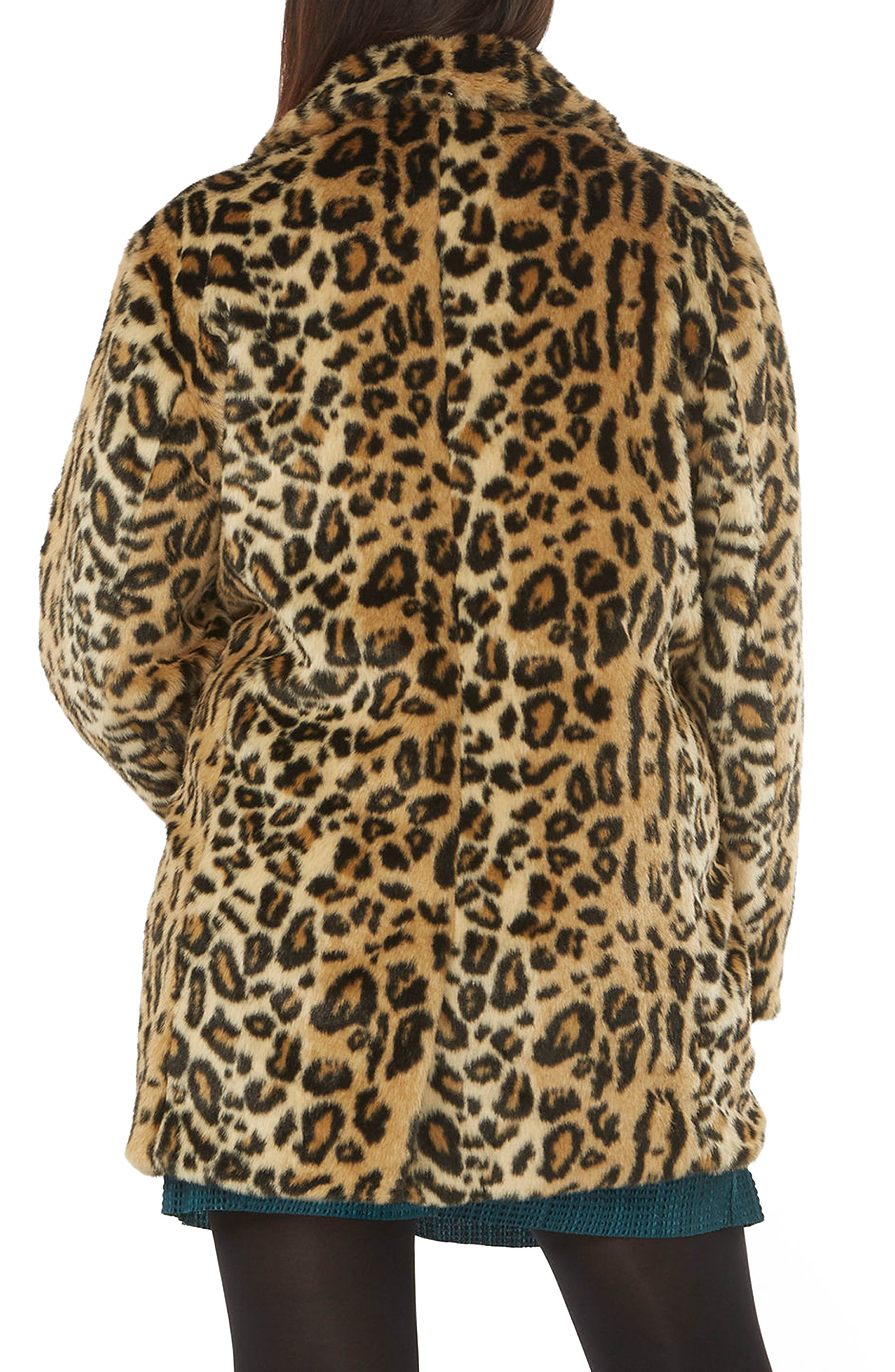 EVANS, Leopard Print Faux Fur Coat, Alternate thumbnail 2, color, 200