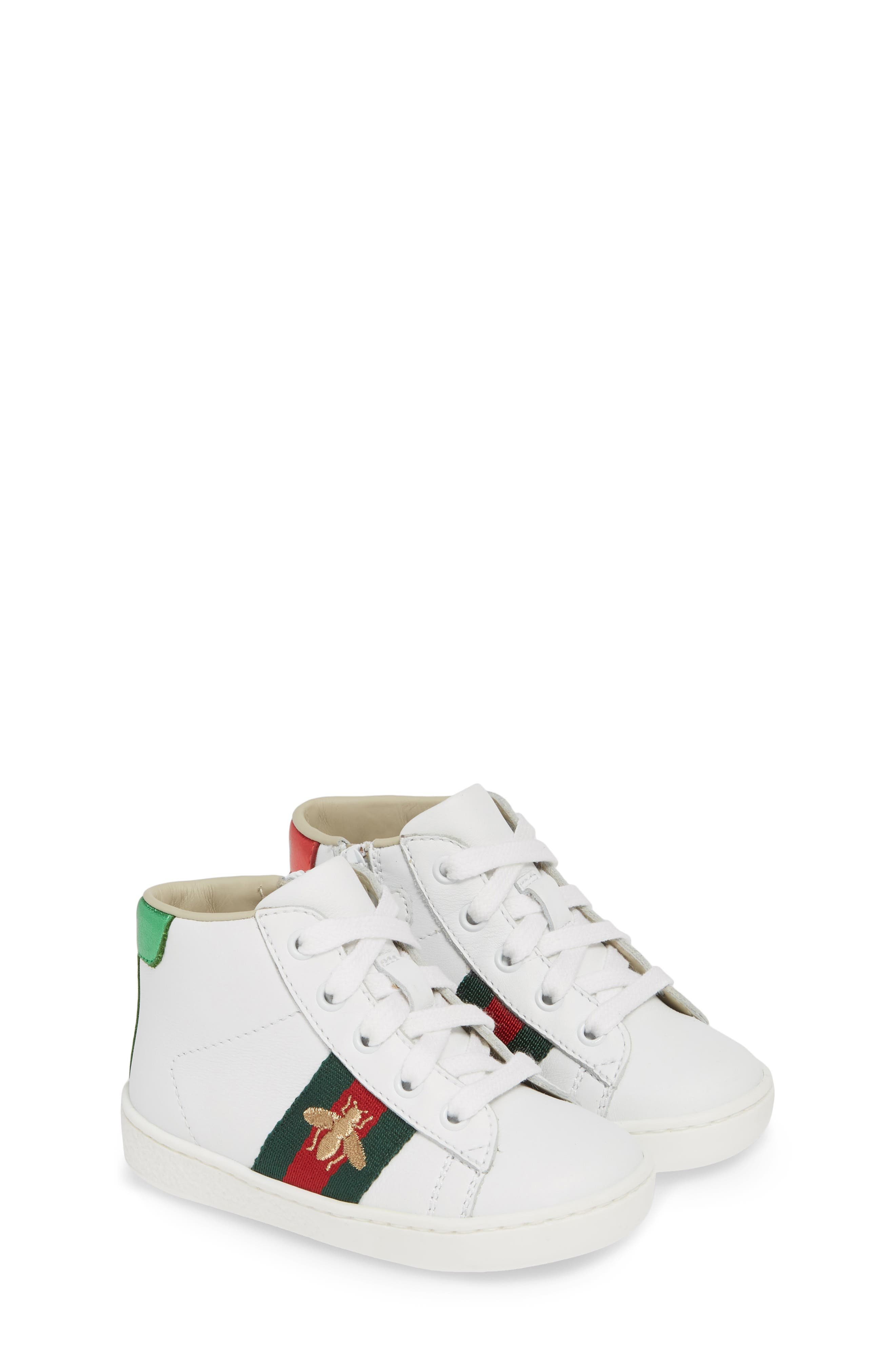 GUCCI, New Ace High Top Sneaker, Alternate thumbnail 2, color, WHITE MULTI