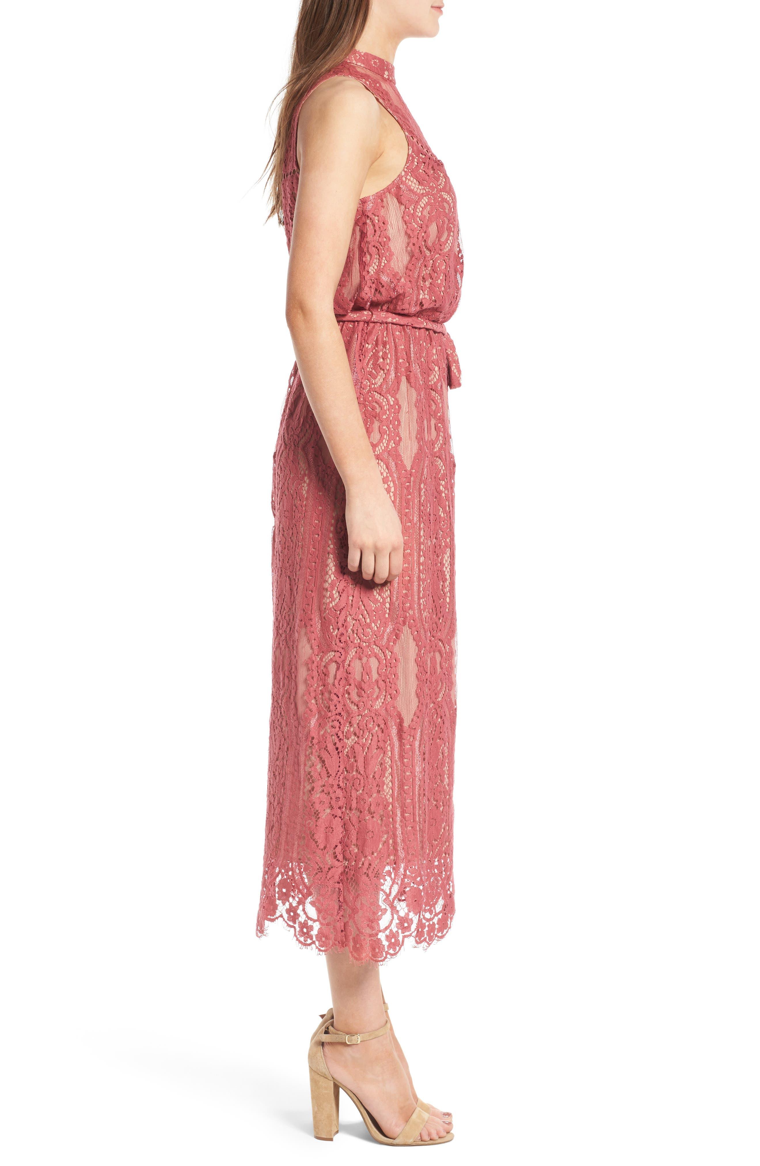 WAYF, 'Portrait' Lace Midi Dress, Alternate thumbnail 3, color, 650