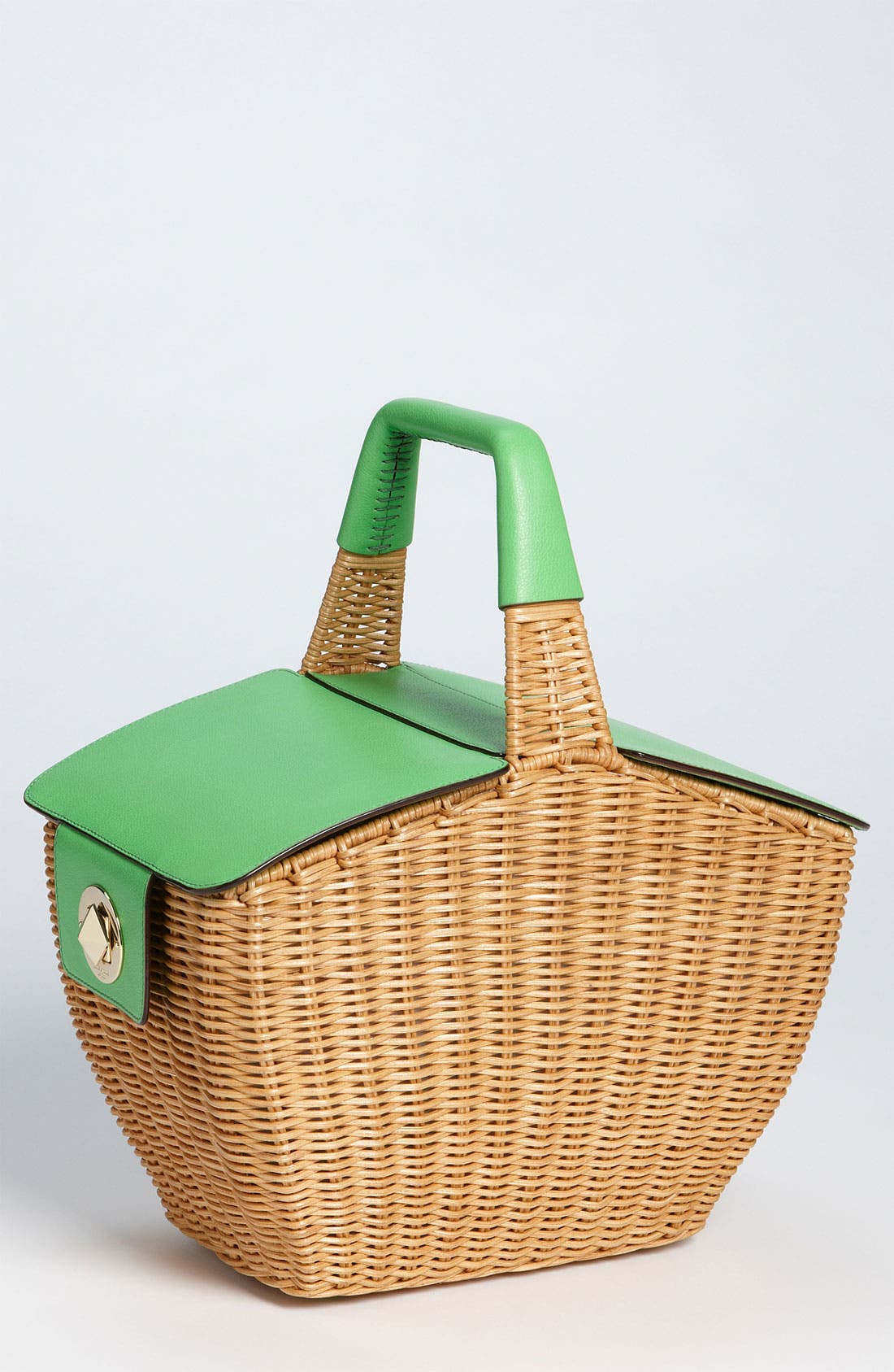 KATE SPADE NEW YORK, 'linden' wicker basket, Main thumbnail 1, color, 128