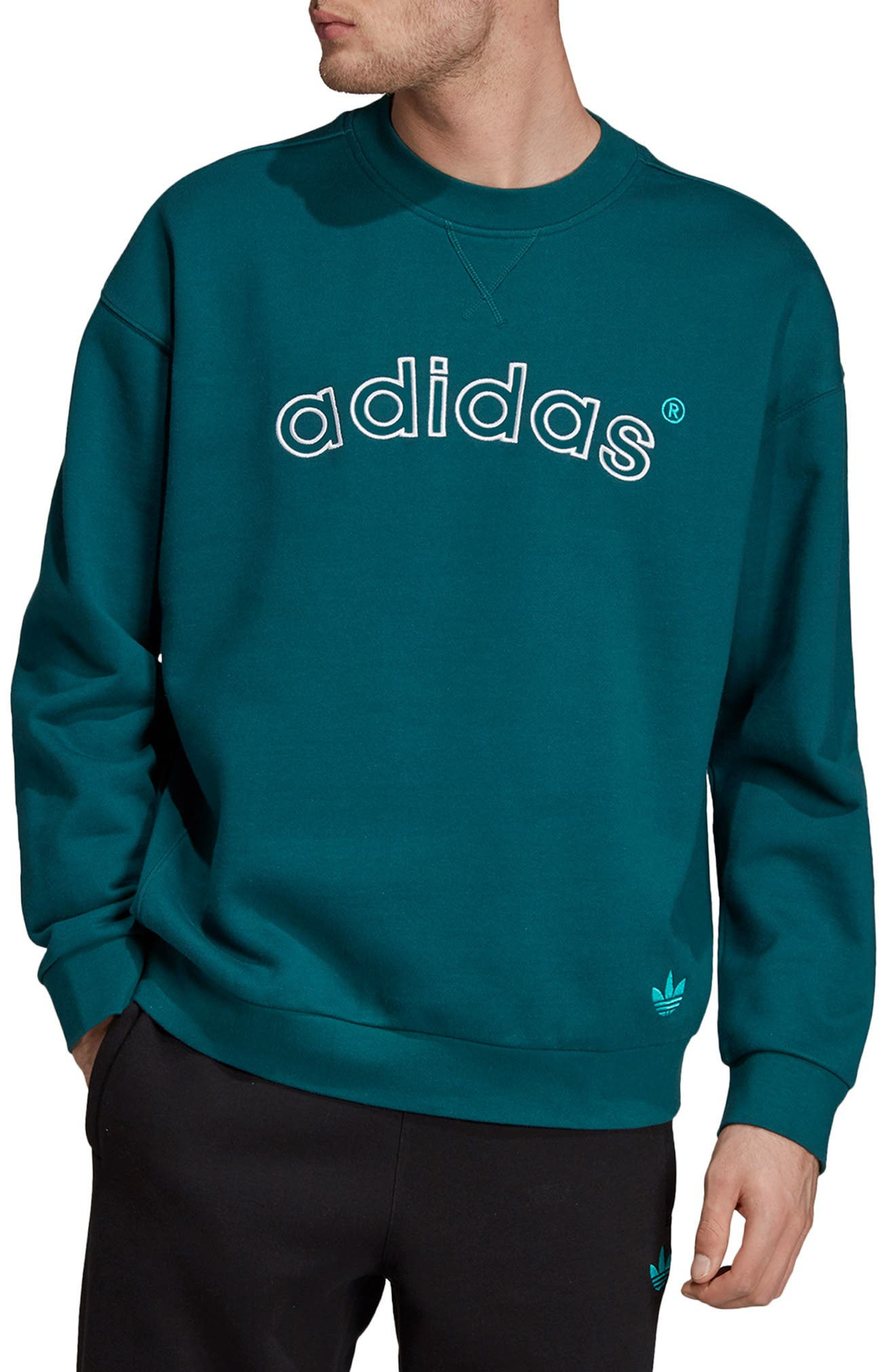 ADIDAS ORIGINALS Arc Sweatshirt, Main, color, RICH GREEN