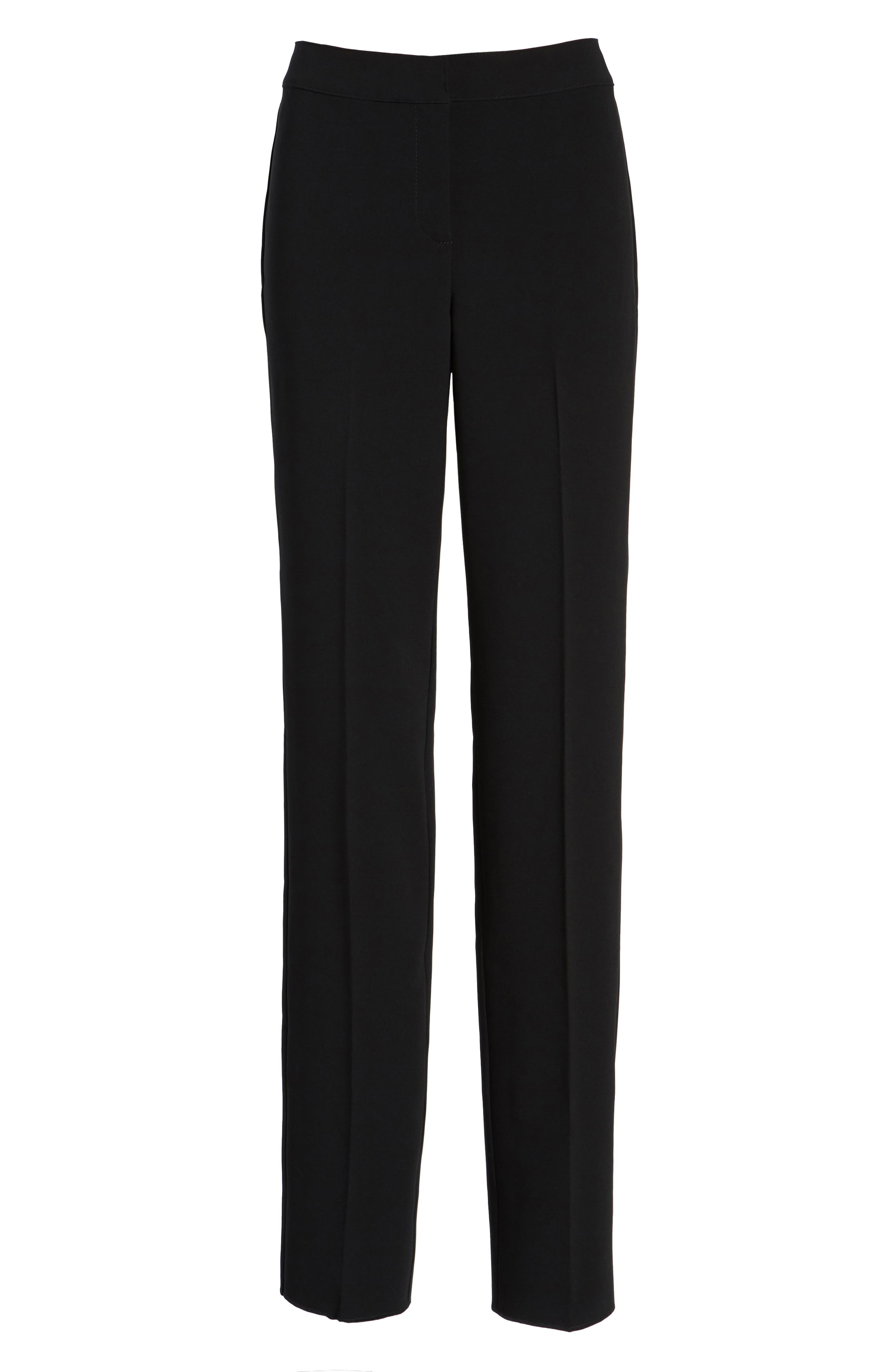 ST. JOHN COLLECTION, Diana Straight Leg Crepe Marocain Pants, Main thumbnail 1, color, CAVIAR