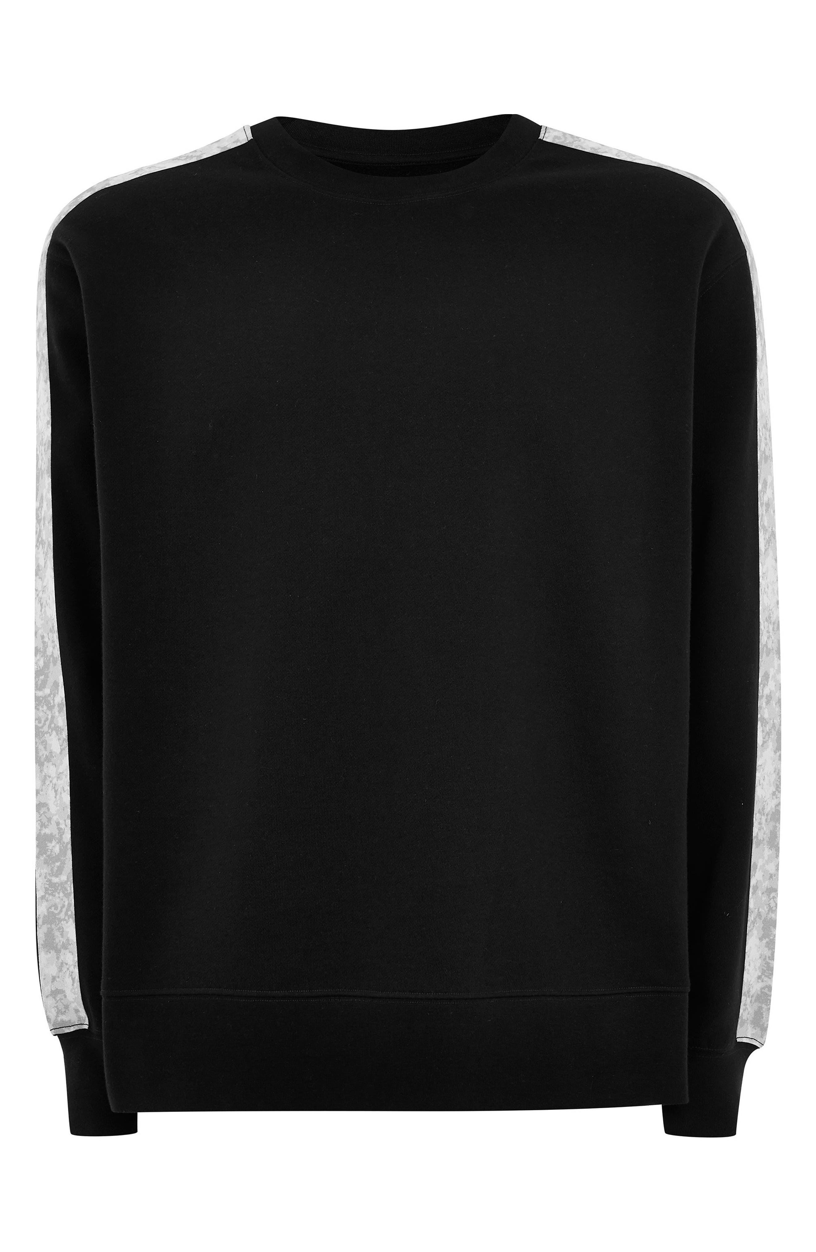 TOPMAN, Sublimated Tape Crewneck Sweatshirt, Alternate thumbnail 4, color, BLACK MULTI