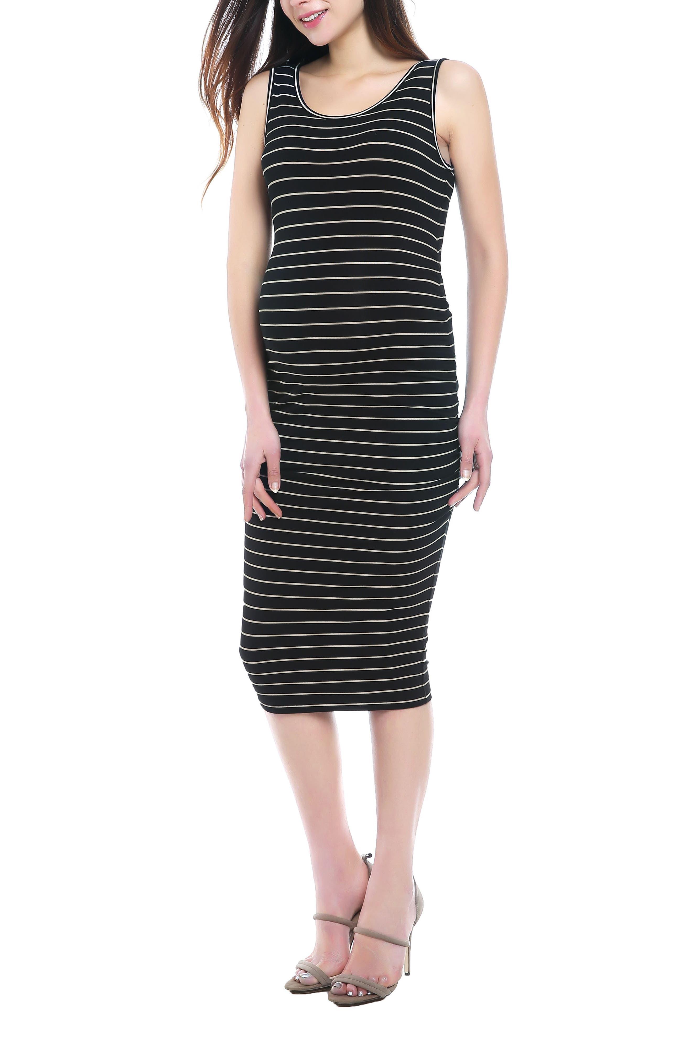 KIMI AND KAI, Tobi Stripe Maternity Dress, Alternate thumbnail 5, color, BLACK/ BEIGE