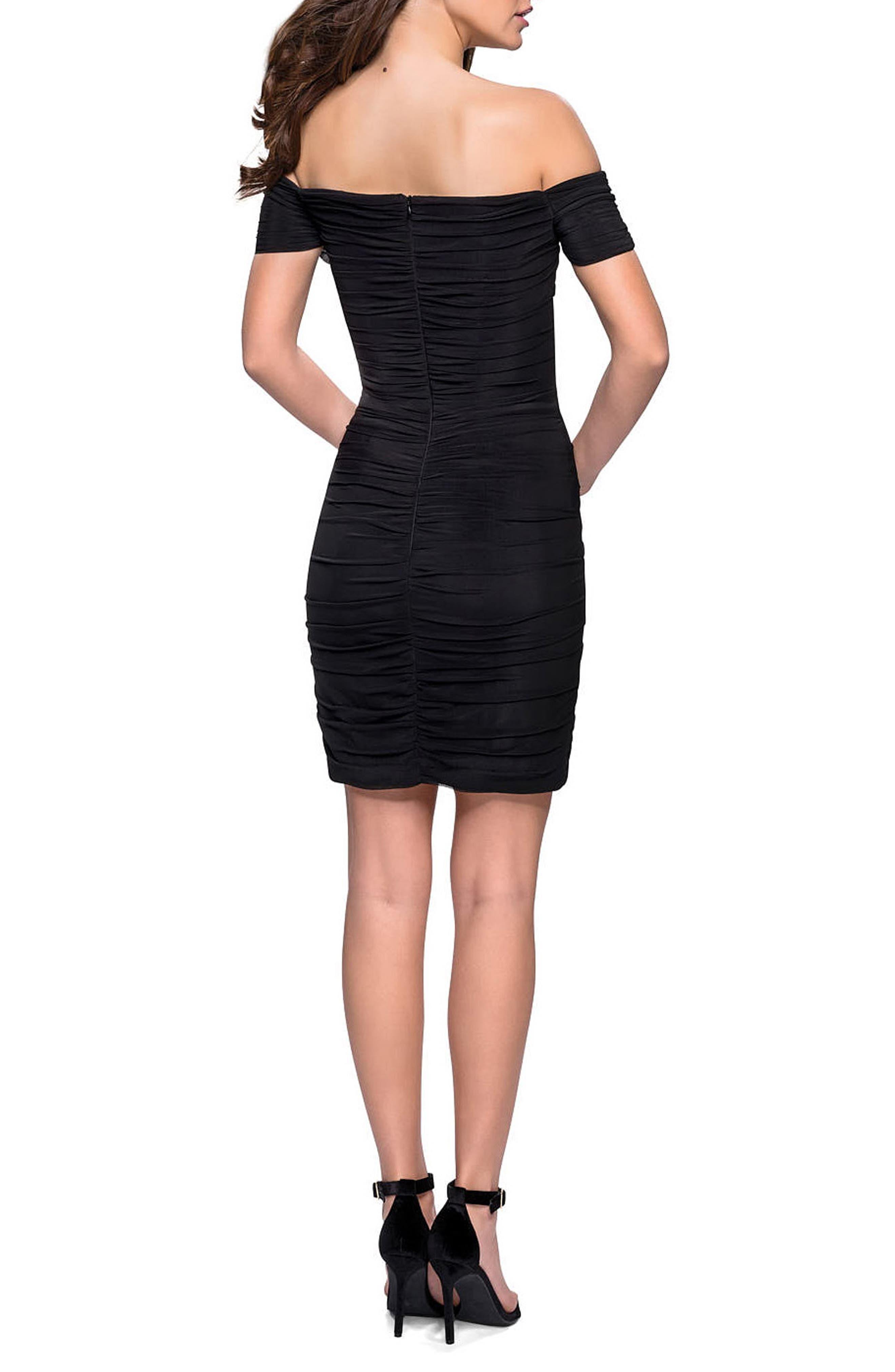 LA FEMME, Off the Shoulder Ruched Party Dress, Alternate thumbnail 2, color, BLACK