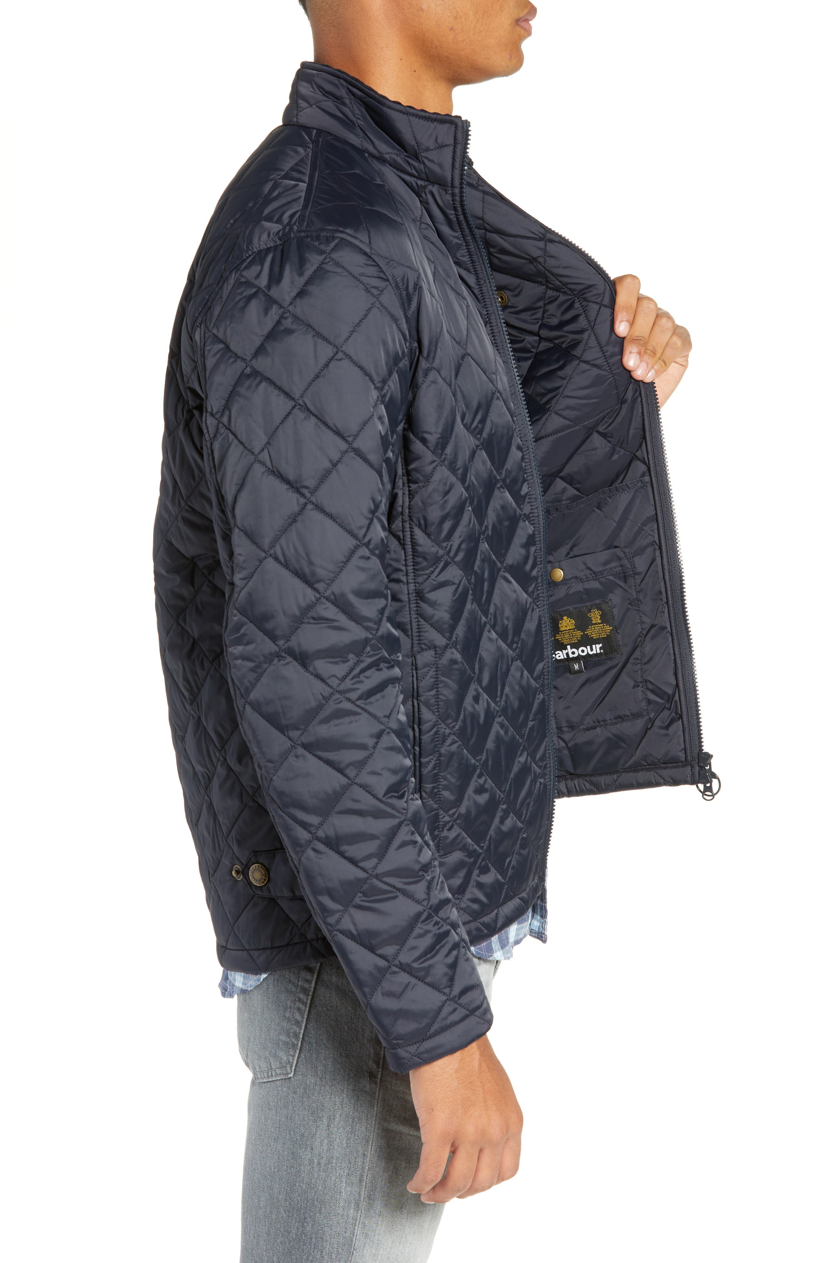 BARBOUR, Barbout Abaft Quilted Jacket, Alternate thumbnail 4, color, NAVY