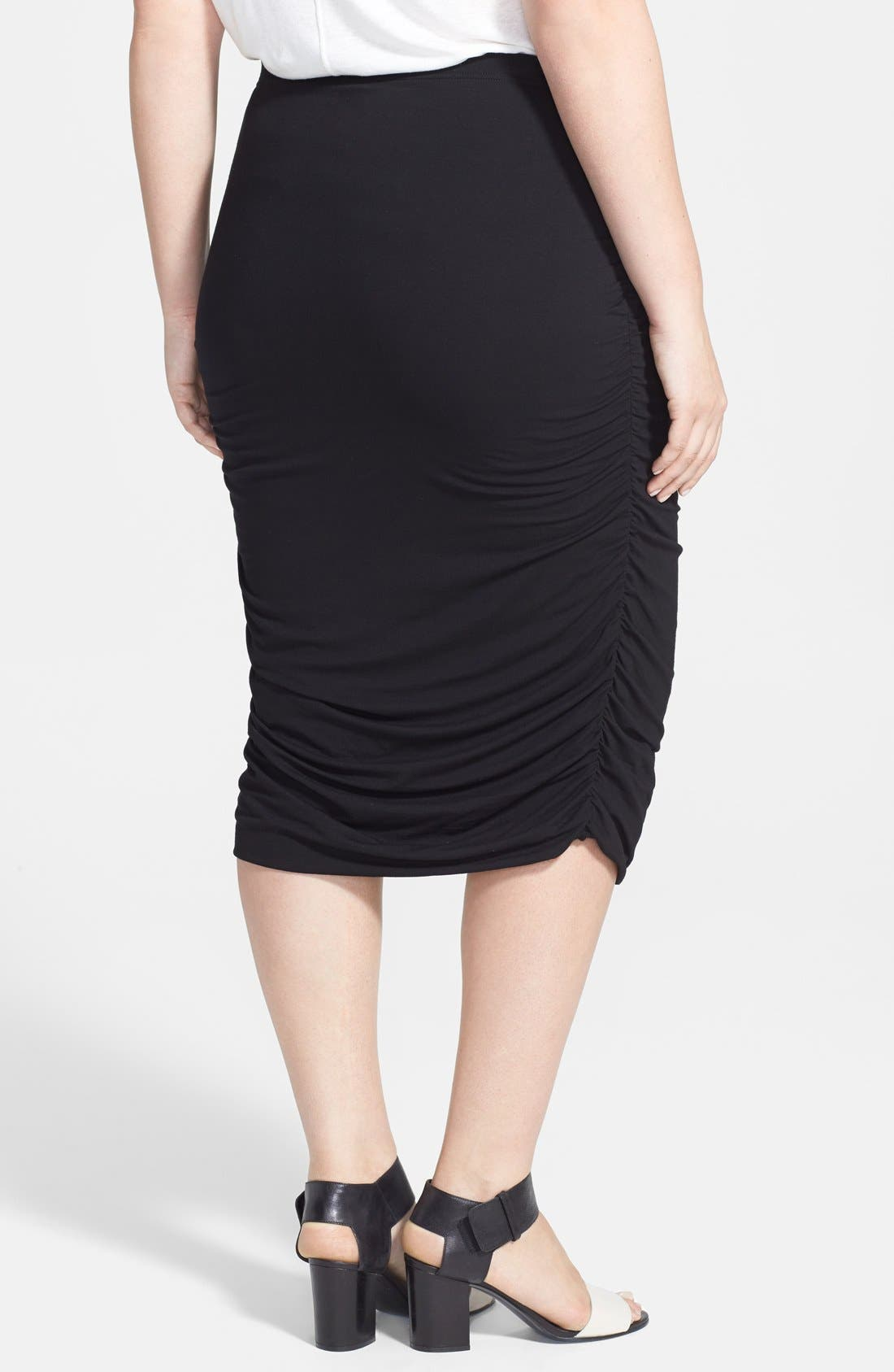 VINCE CAMUTO, Ruched Stretch Knit Midi Skirt, Alternate thumbnail 2, color, 001