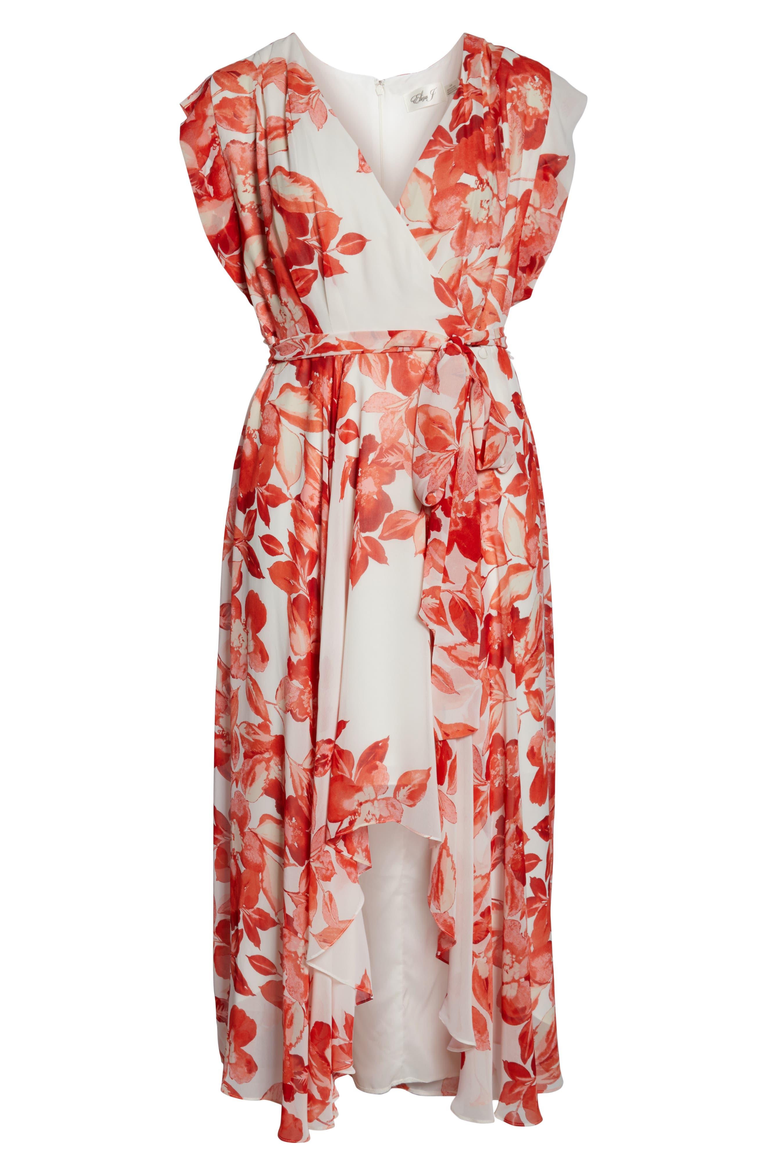 ELIZA J, Floral Chiffon High/Low Maxi Dress, Alternate thumbnail 7, color, 958