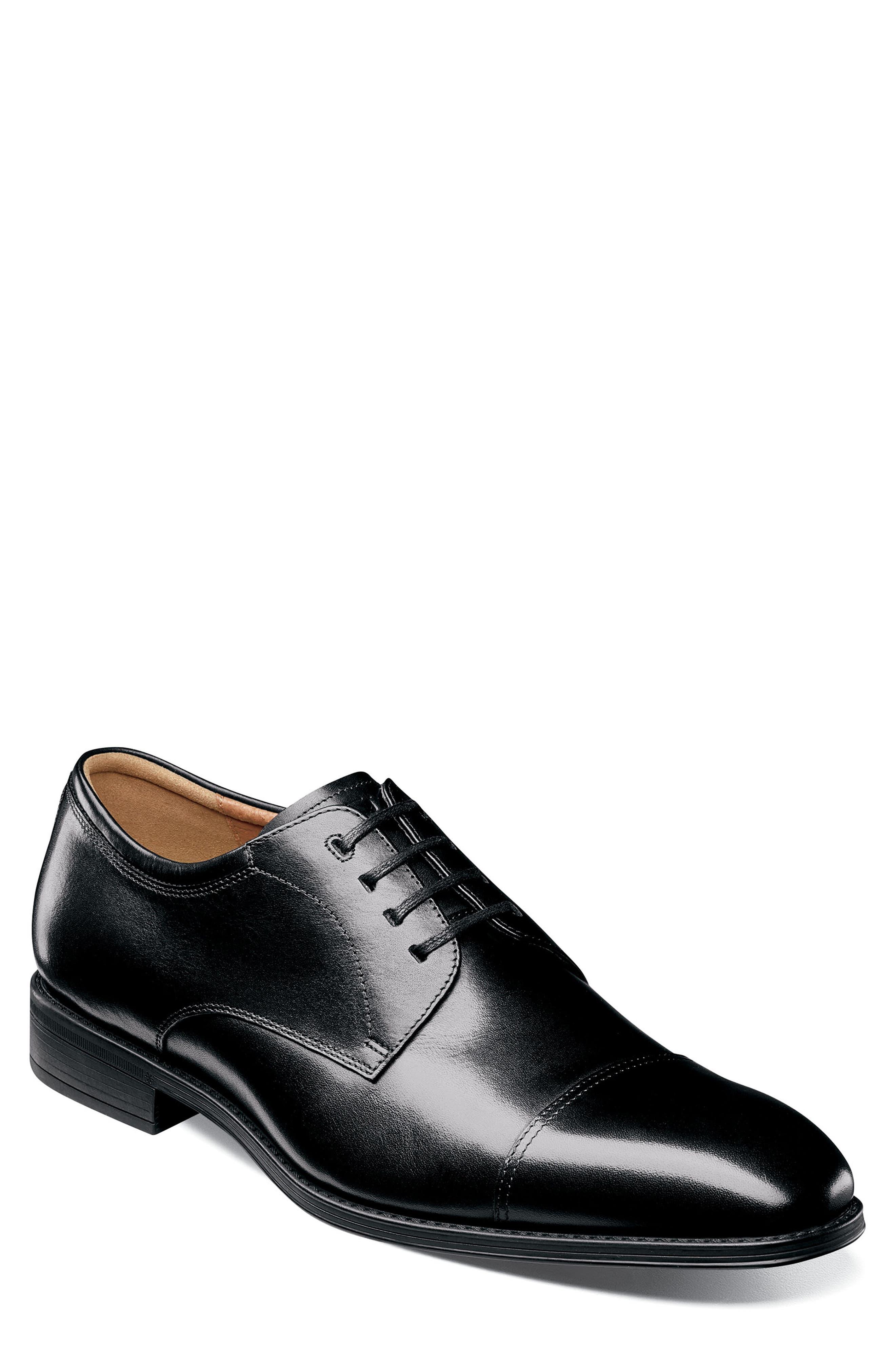 FLORSHEIM Cardineli Cap Toe Derby, Main, color, BLACK LEATHER