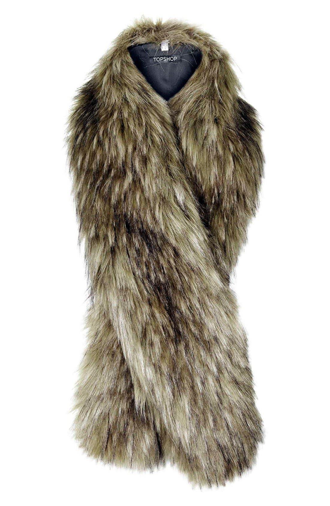 TOPSHOP, Faux Coyote Fur Stole, Alternate thumbnail 2, color, 200