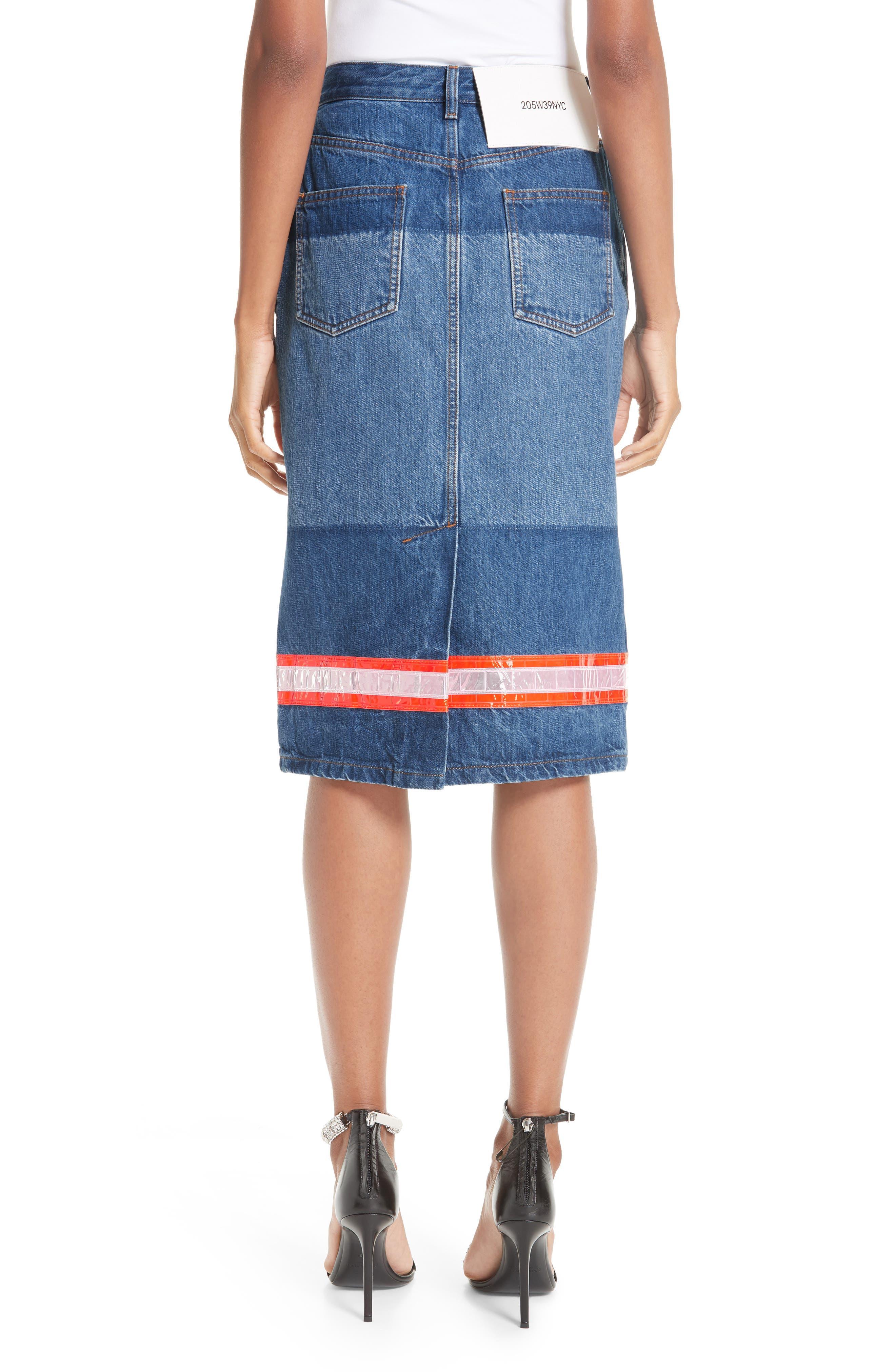 CALVIN KLEIN 205W39NYC, Reflective Stripe Mixed Wash Denim Skirt, Alternate thumbnail 2, color, BLUE