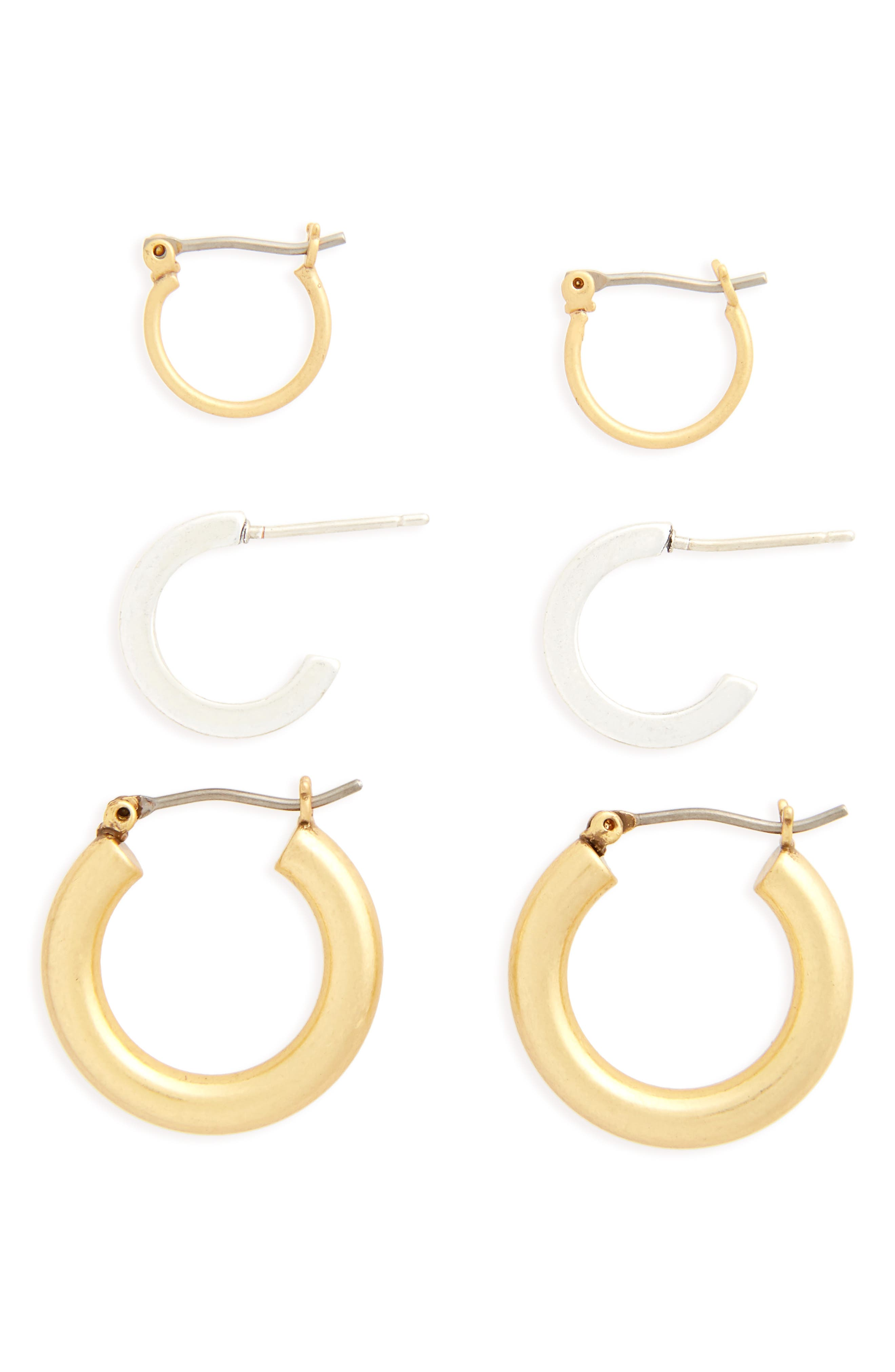 MADEWELL, Set of 3 Mini Hoop Earrings, Main thumbnail 1, color, MIXED METAL