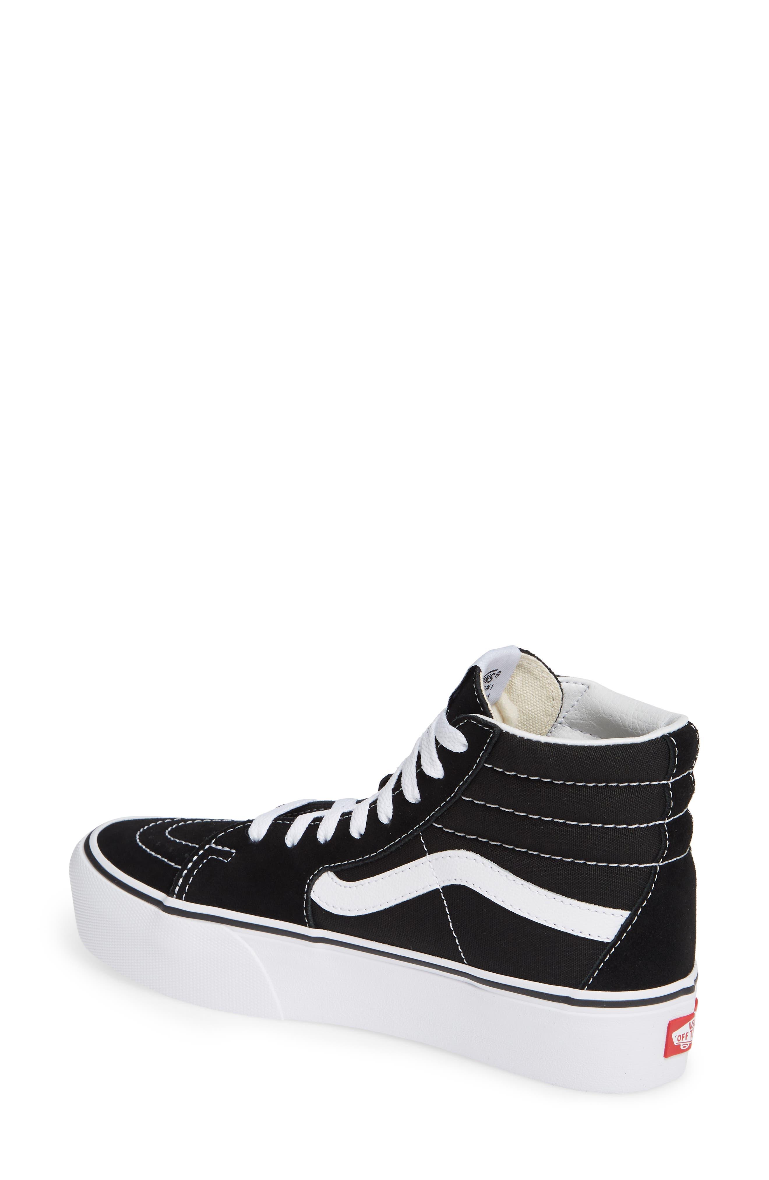 VANS, Sk8-Hi Platform Sneaker, Alternate thumbnail 2, color, BLACK/ TRUE WHITE