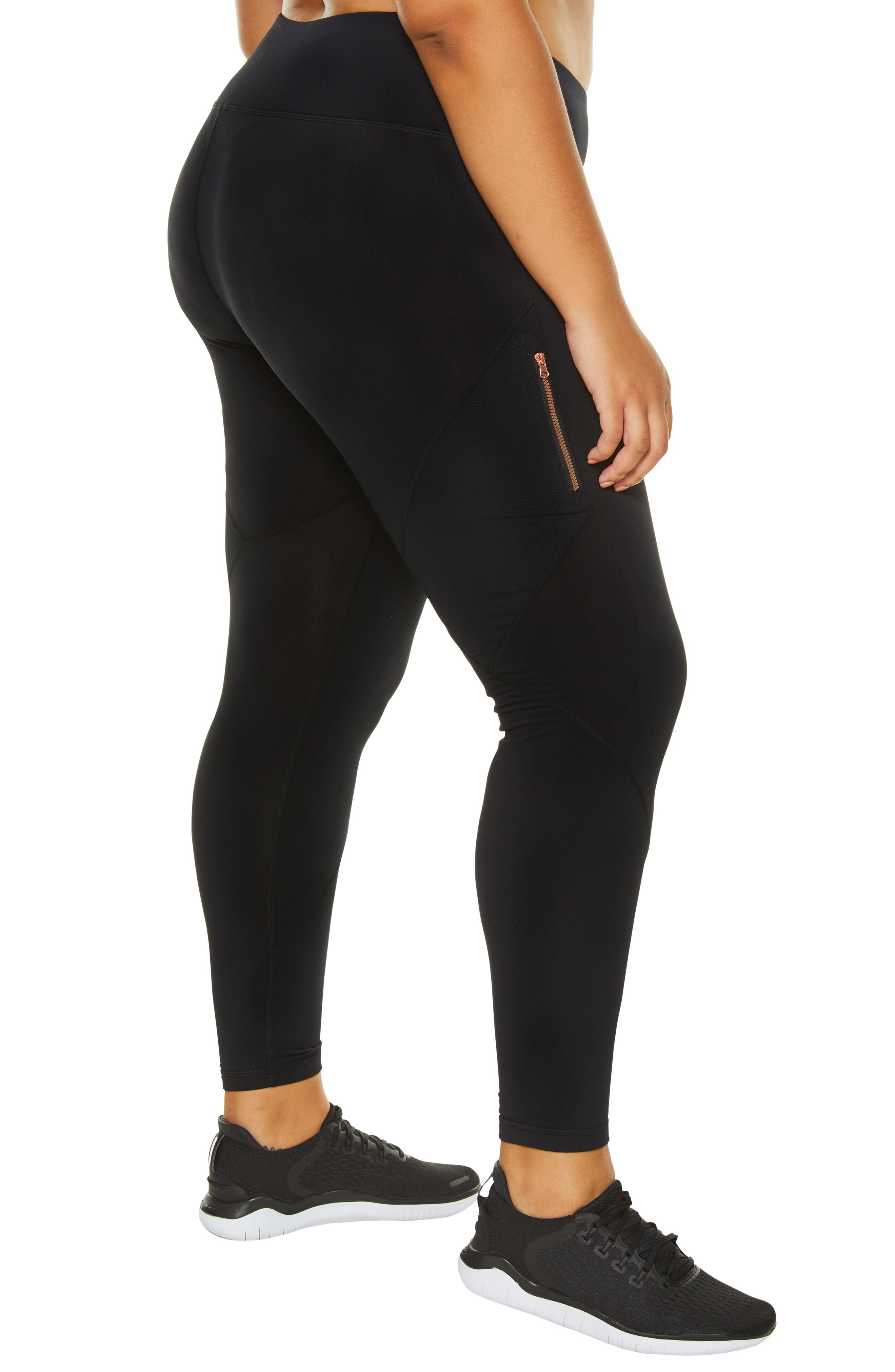 SHAPE ACTIVEWEAR, Blaze Fleece Leggings, Alternate thumbnail 3, color, 001