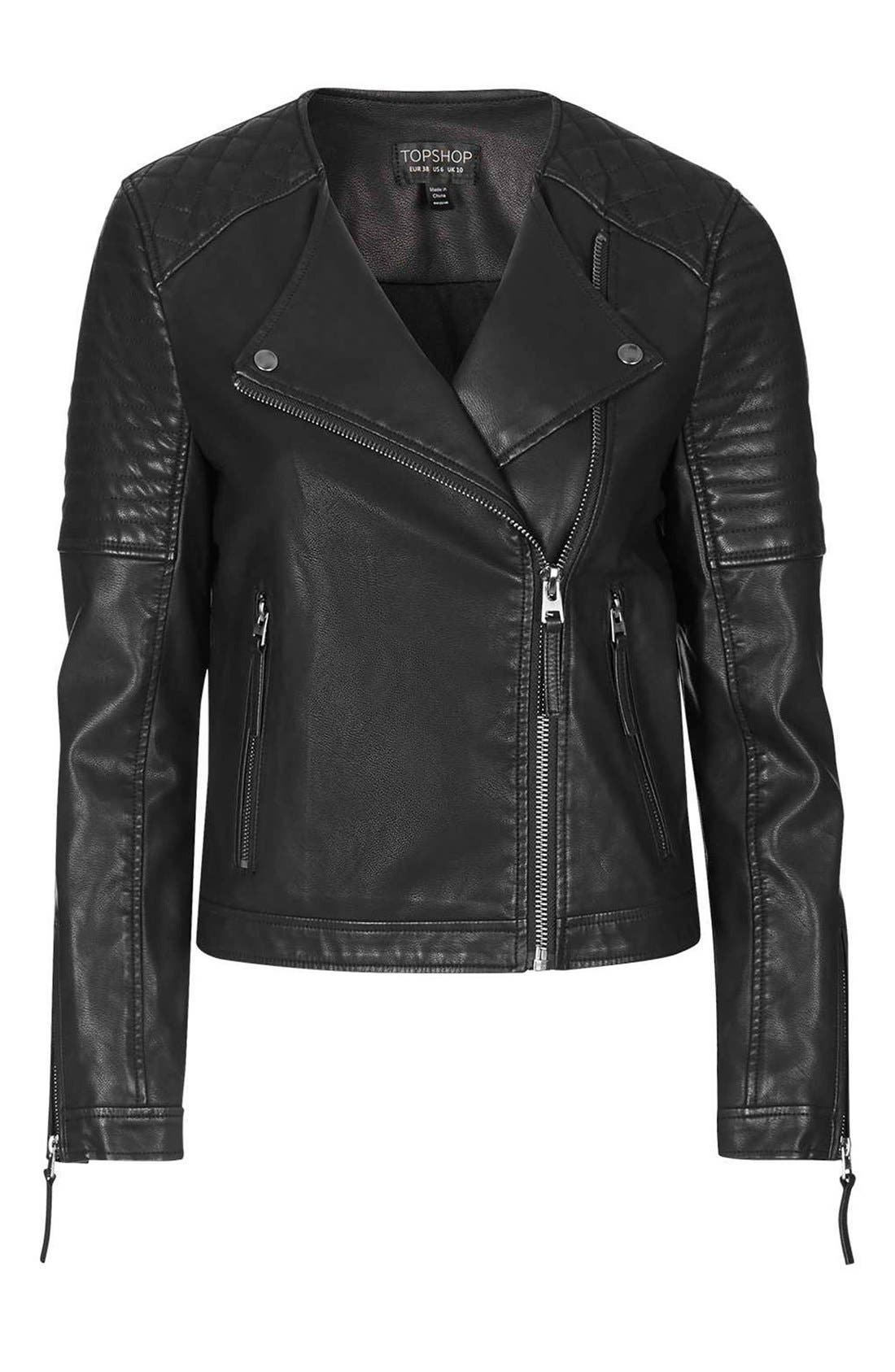 TOPSHOP, Faux Leather Biker Jacket, Alternate thumbnail 5, color, 001
