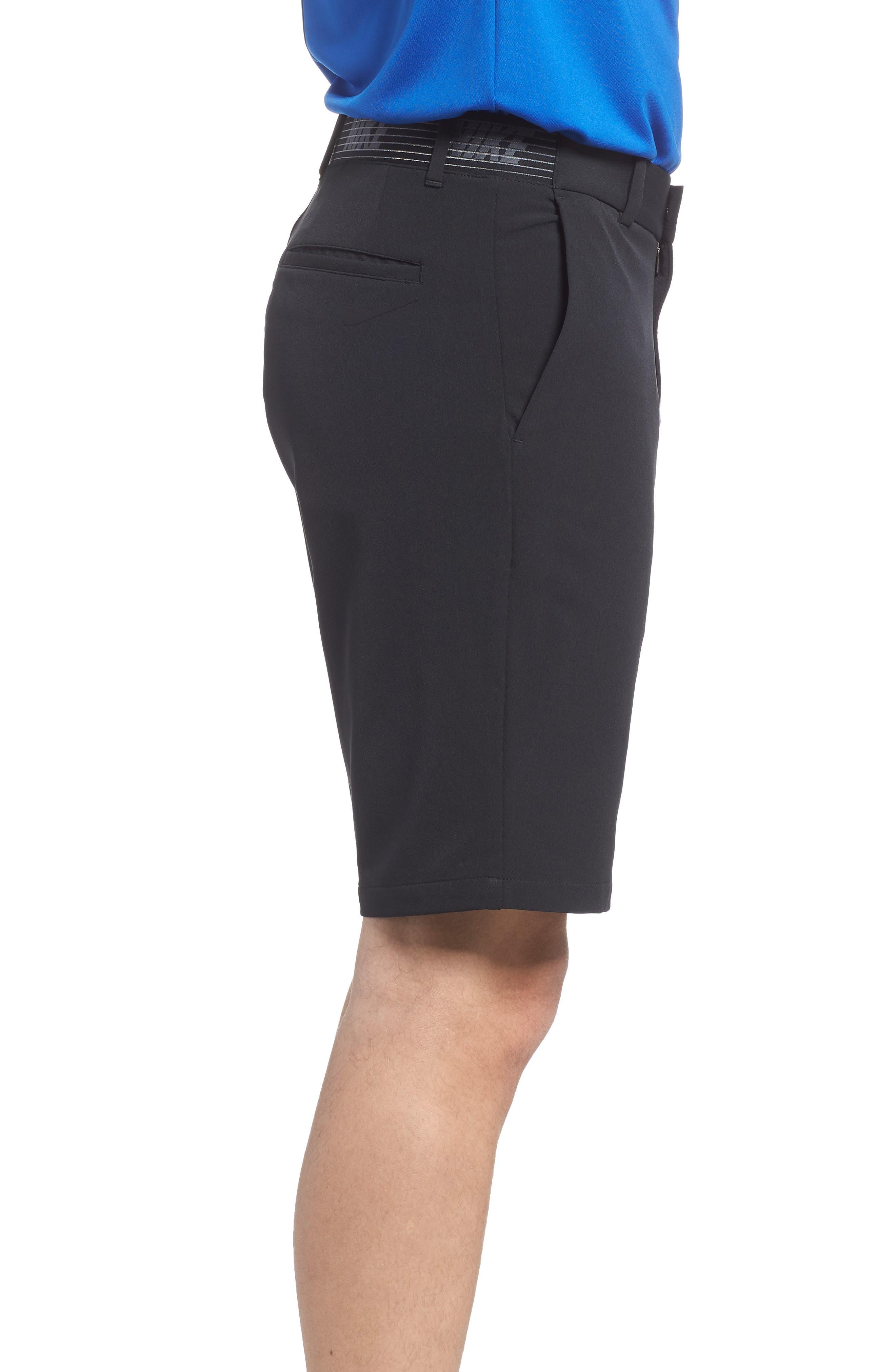 NIKE, Flex Slim Fit Dri-FIT Golf Shorts, Alternate thumbnail 3, color, BLACK/ BLACK