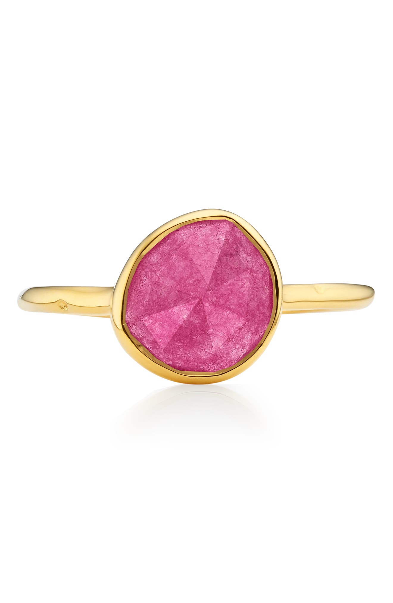 MONICA VINADER, Siren Semiprecious Stone Stacking Ring, Alternate thumbnail 4, color, GOLD/ PINK QUARTZ
