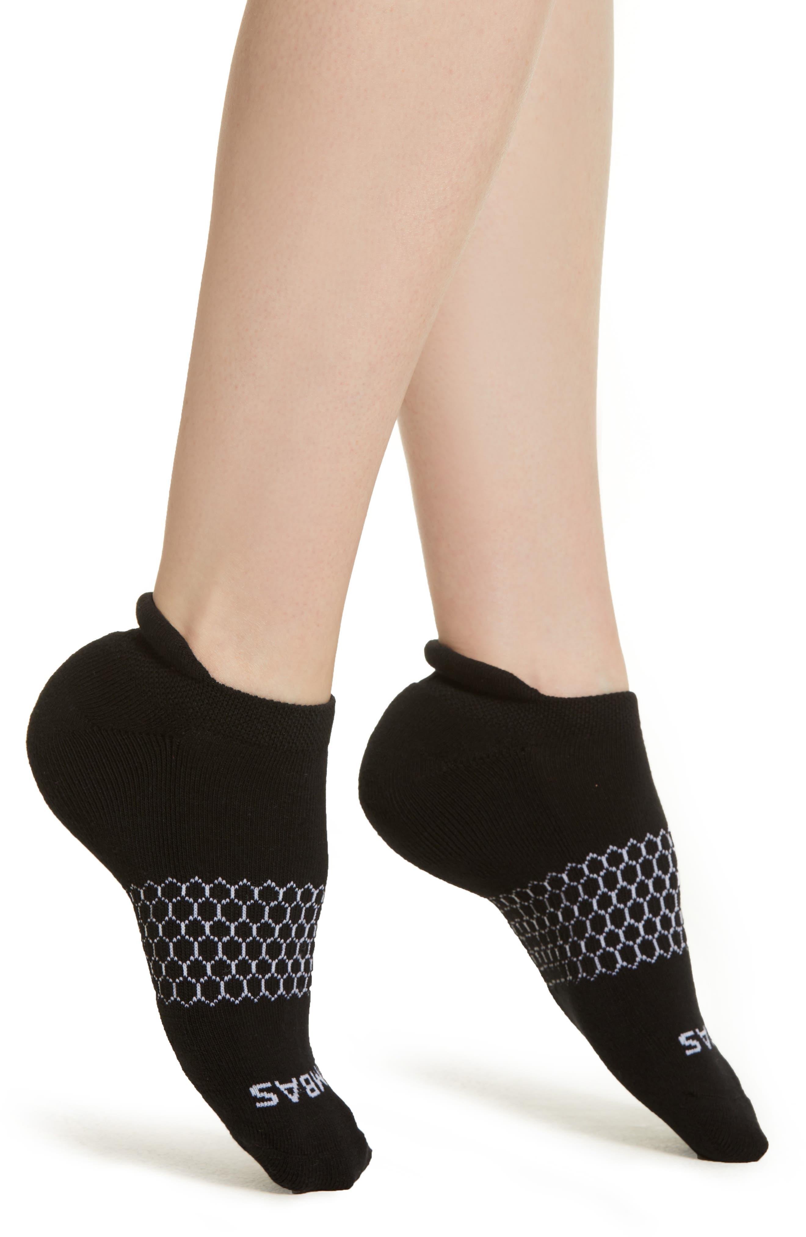 BOMBAS, Solid Ankle Socks, Main thumbnail 1, color, BLACK